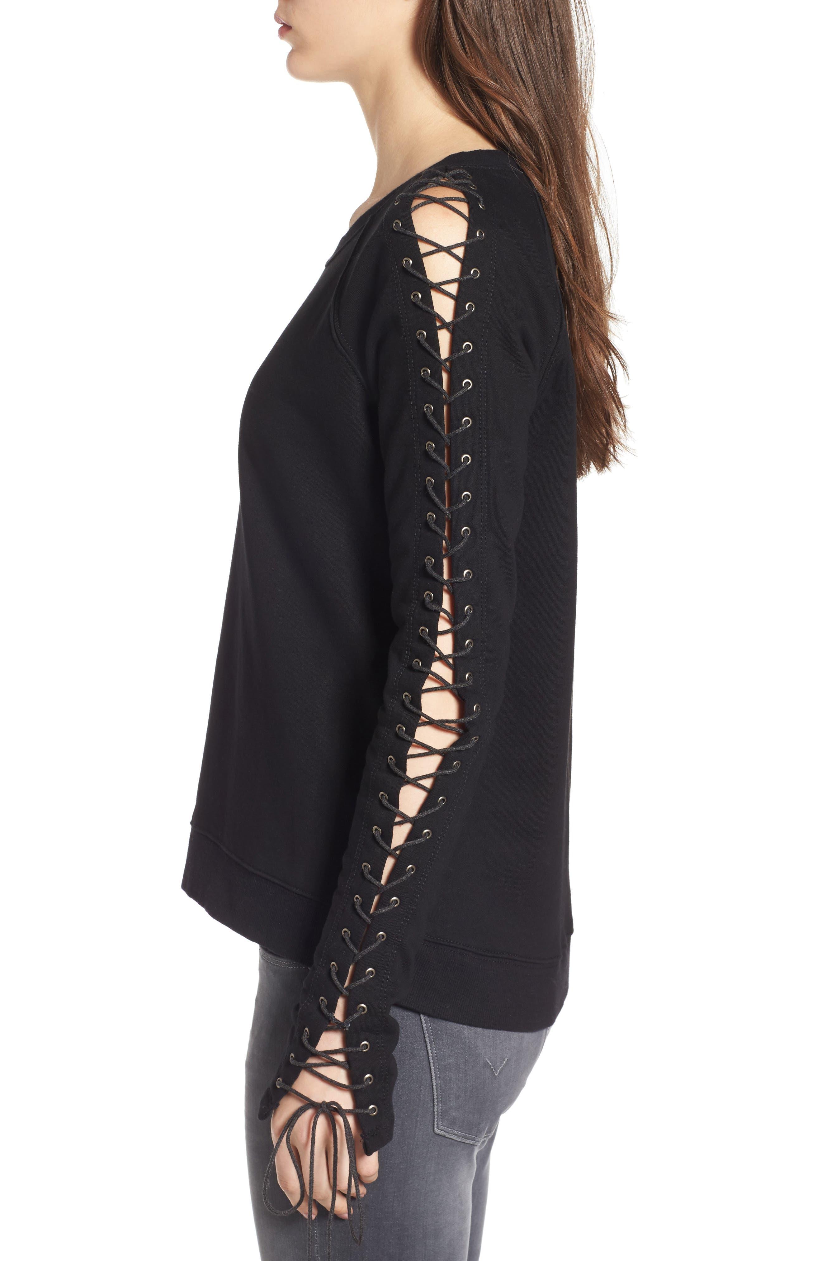 Alternate Image 3  - Pam & Gela Lace-Up Sleeve Sweatshirt