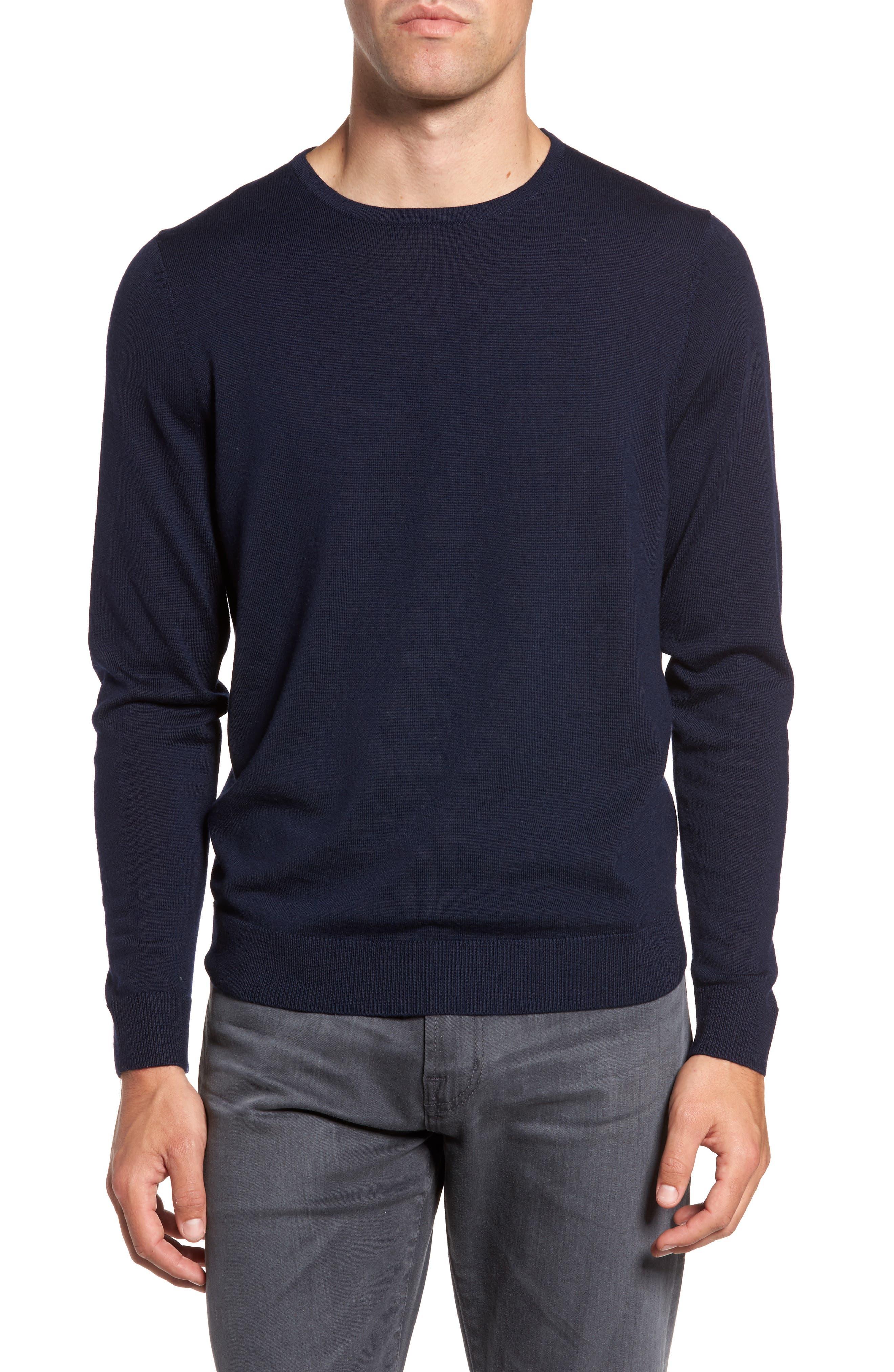 Main Image - Nordstrom Men's Shop Crewneck Merino Wool Sweater (Regular & Tall)