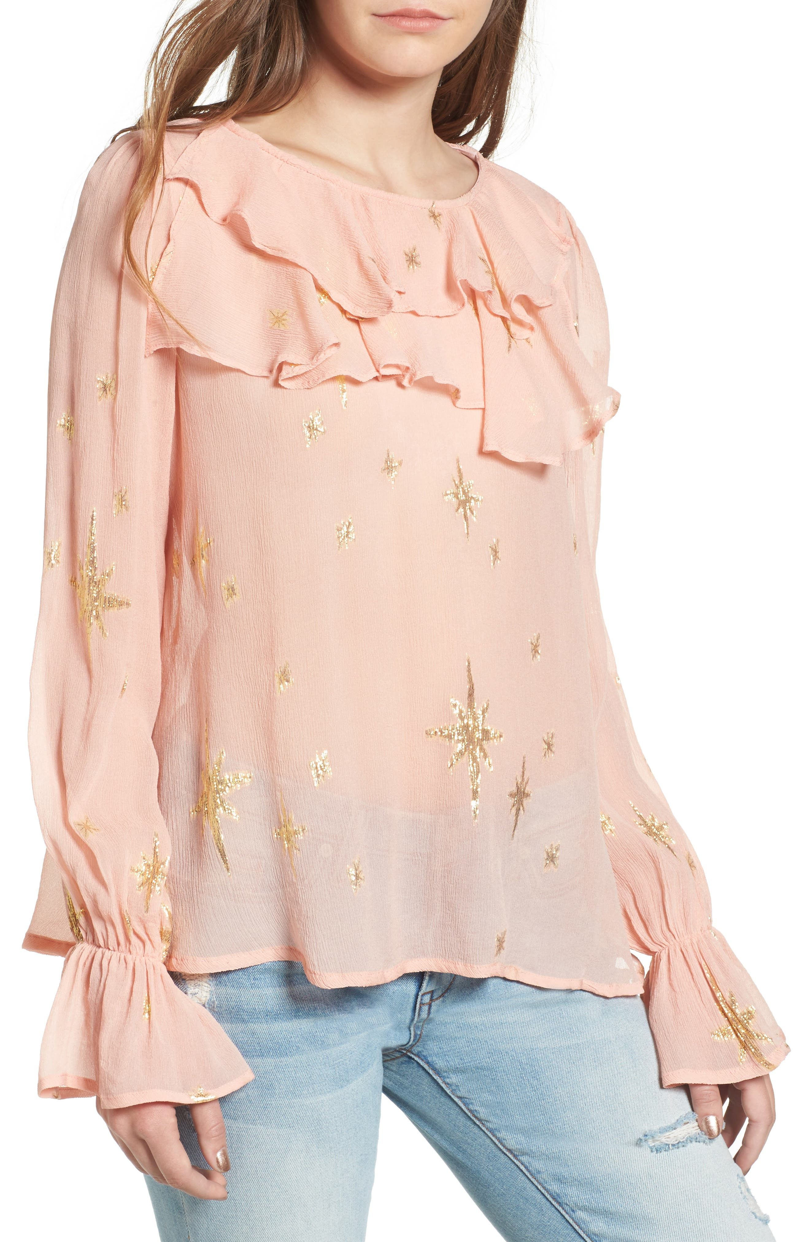 Gilded Star Blouse,                             Main thumbnail 1, color,                             Rose Gold