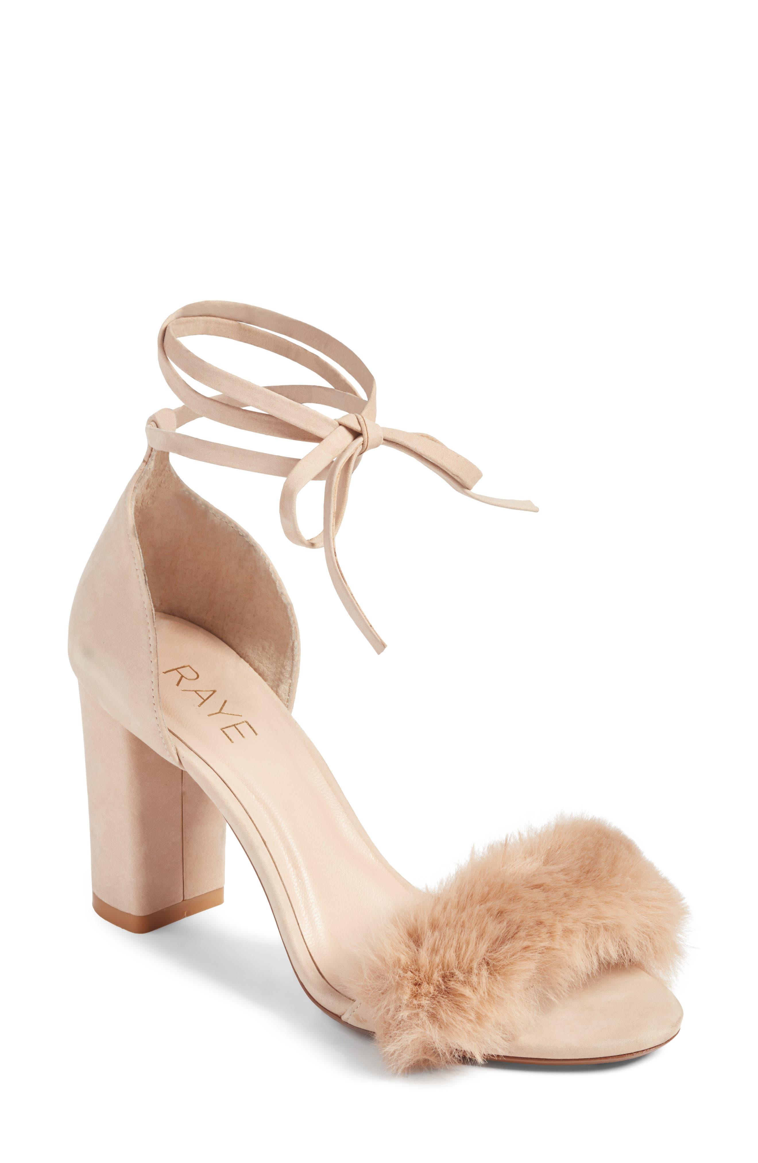 Lacey Faux Fur Sandal,                             Main thumbnail 1, color,                             Sable Fur
