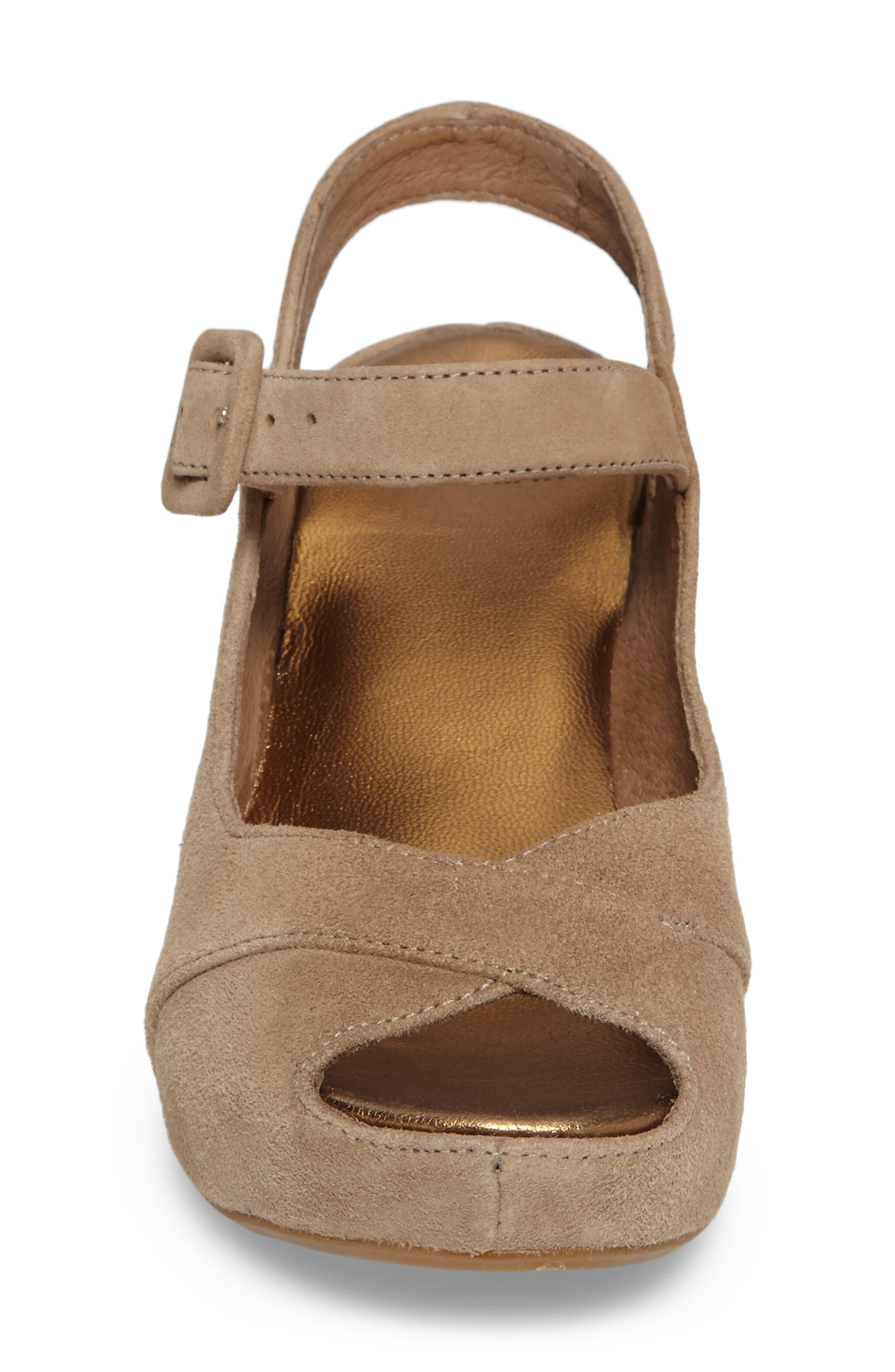 Tara Platform Wedge Sandal,                             Alternate thumbnail 4, color,                             Taupe Suede