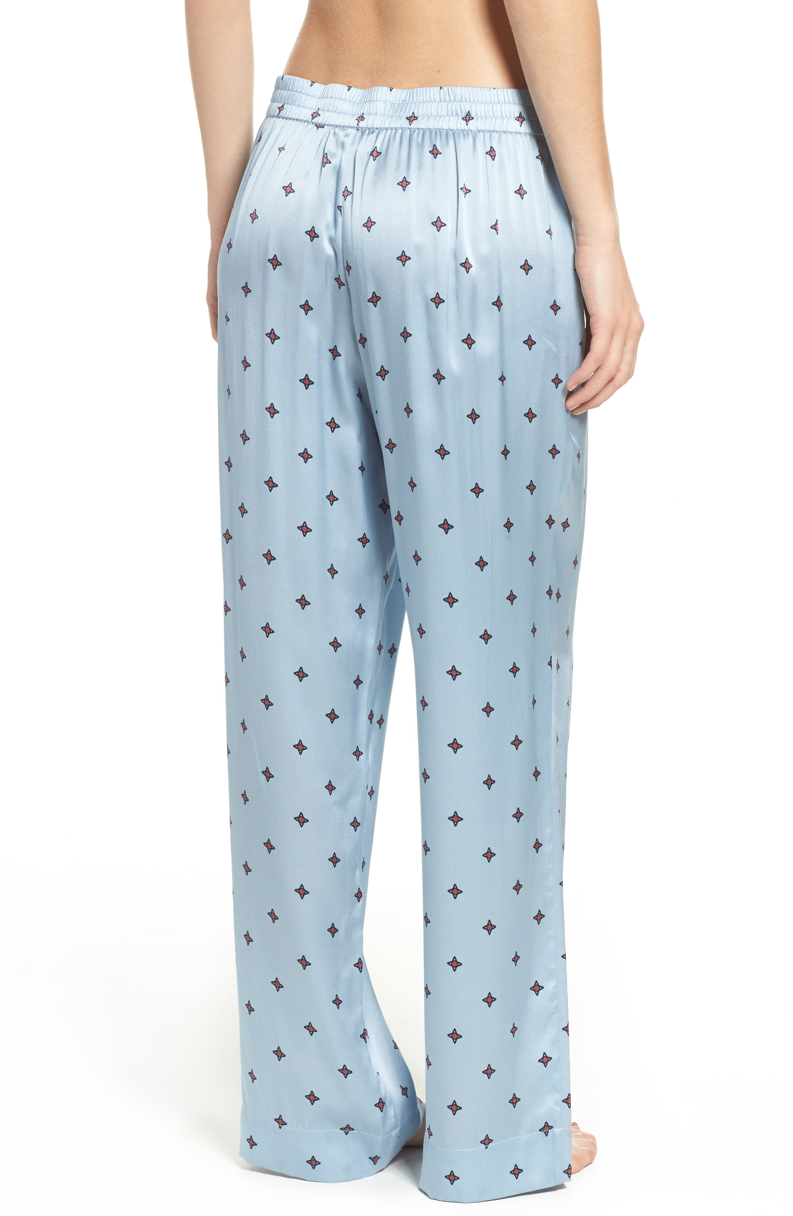 Alternate Image 2  - Asceno by Beautiful Bottoms Print Silk Pajama Pants