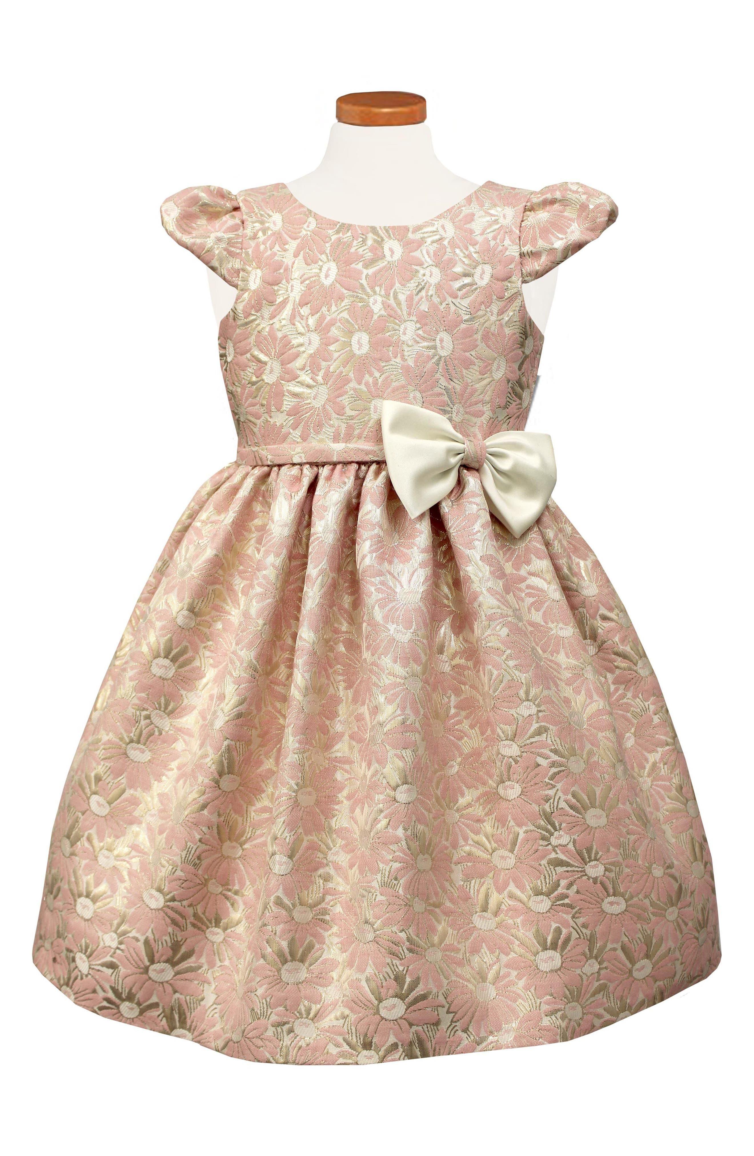Main Image - Sorbet Floral Jacquard Cap Sleeve Dress (Toddler Girls & Little Girls)