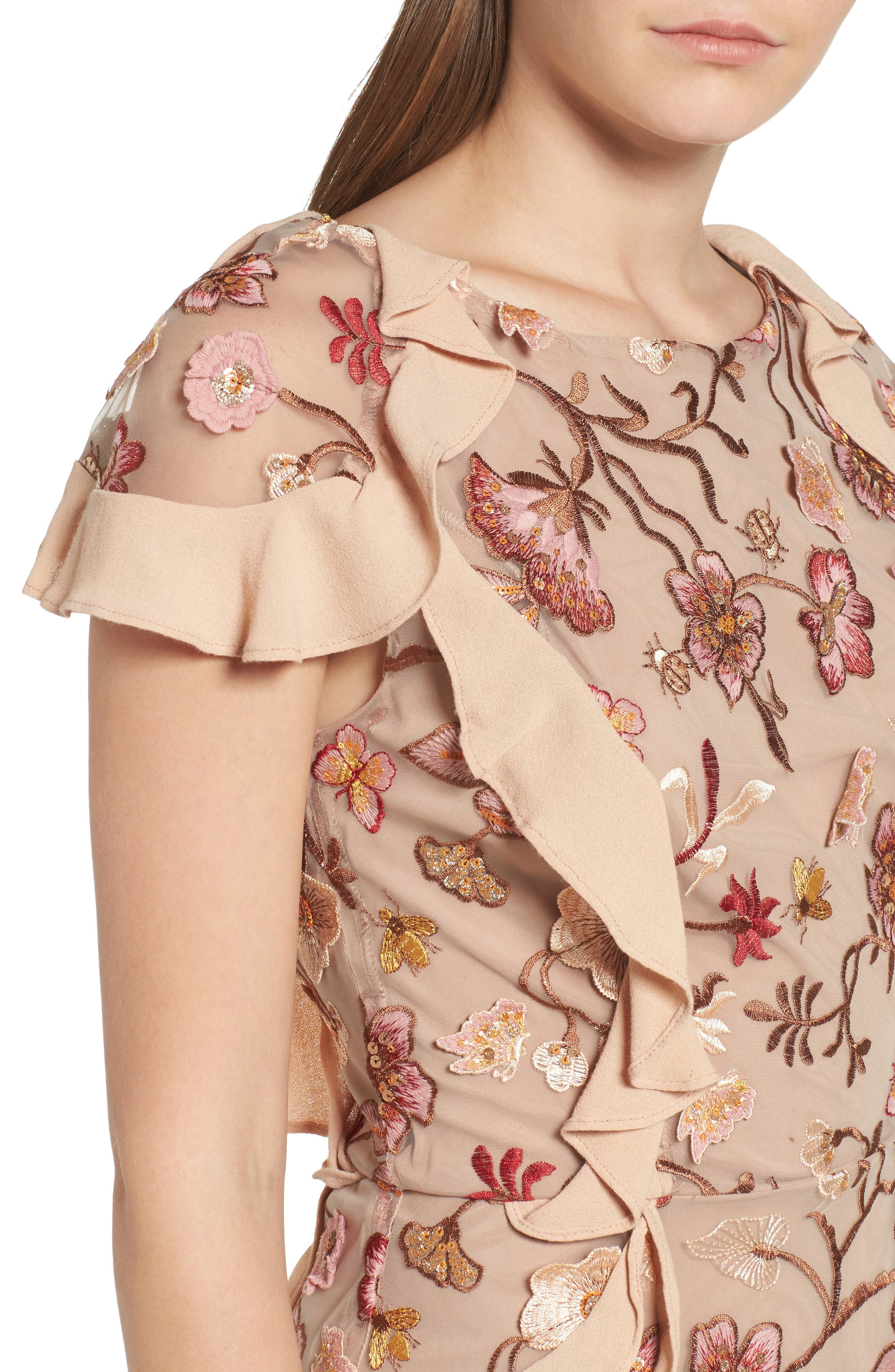 Botanical Embroidered Ruffle Minidress,                             Alternate thumbnail 4, color,                             Nude Floral