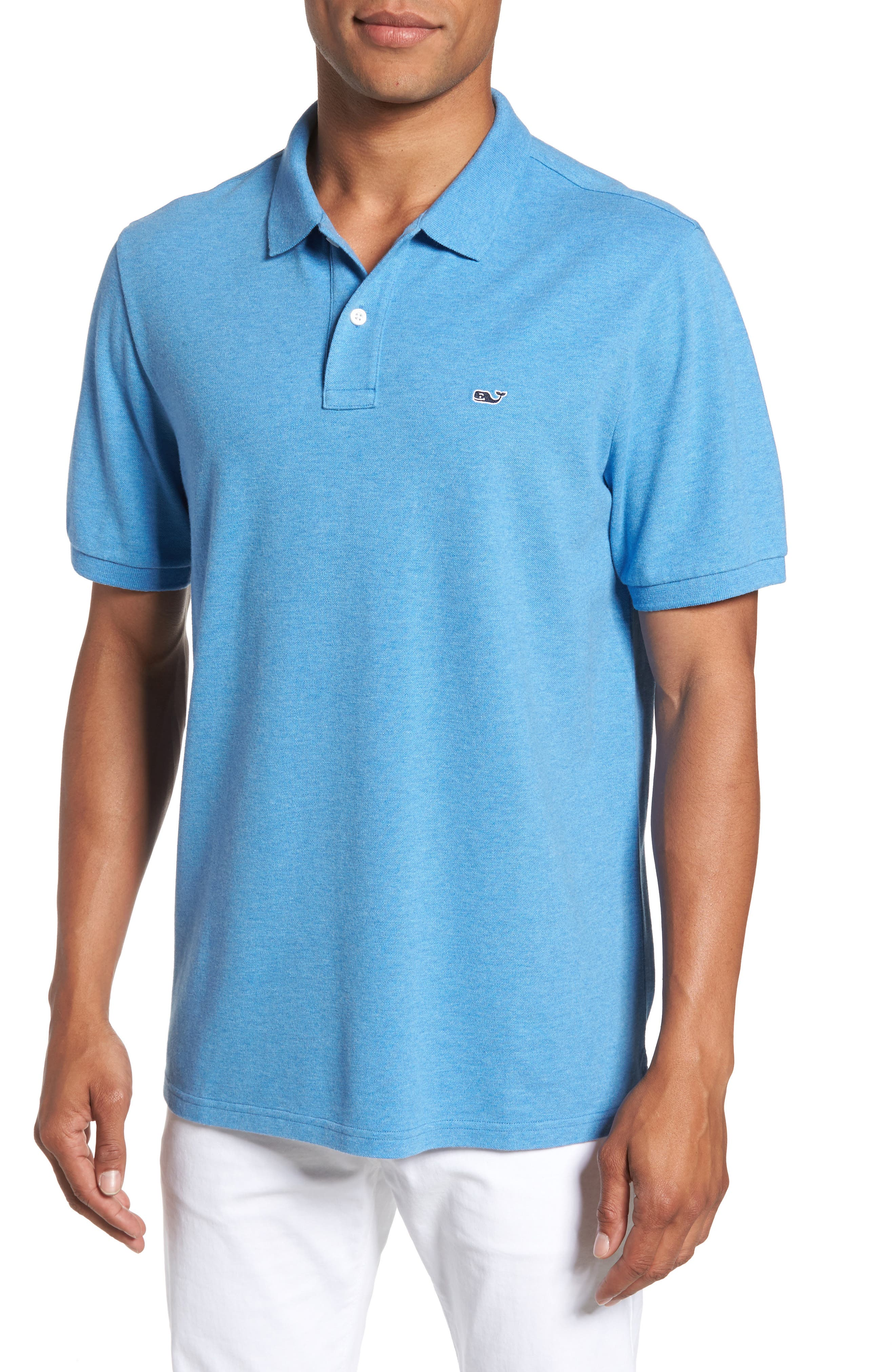 Stretch Piqué Polo,                         Main,                         color, Dockside Blue