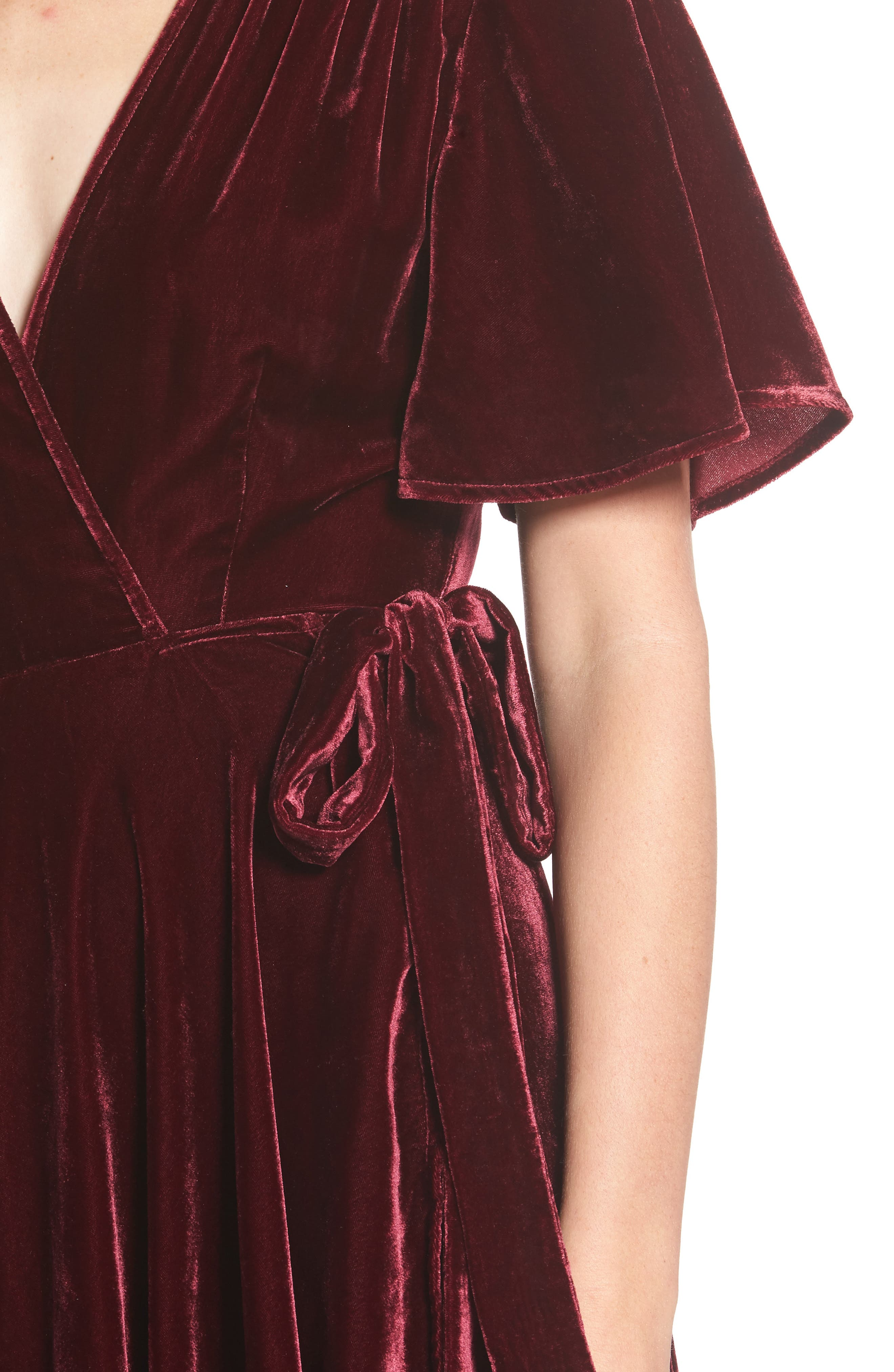 Velvet Wrap Maxi Dress,                             Alternate thumbnail 5, color,                             Burgundy