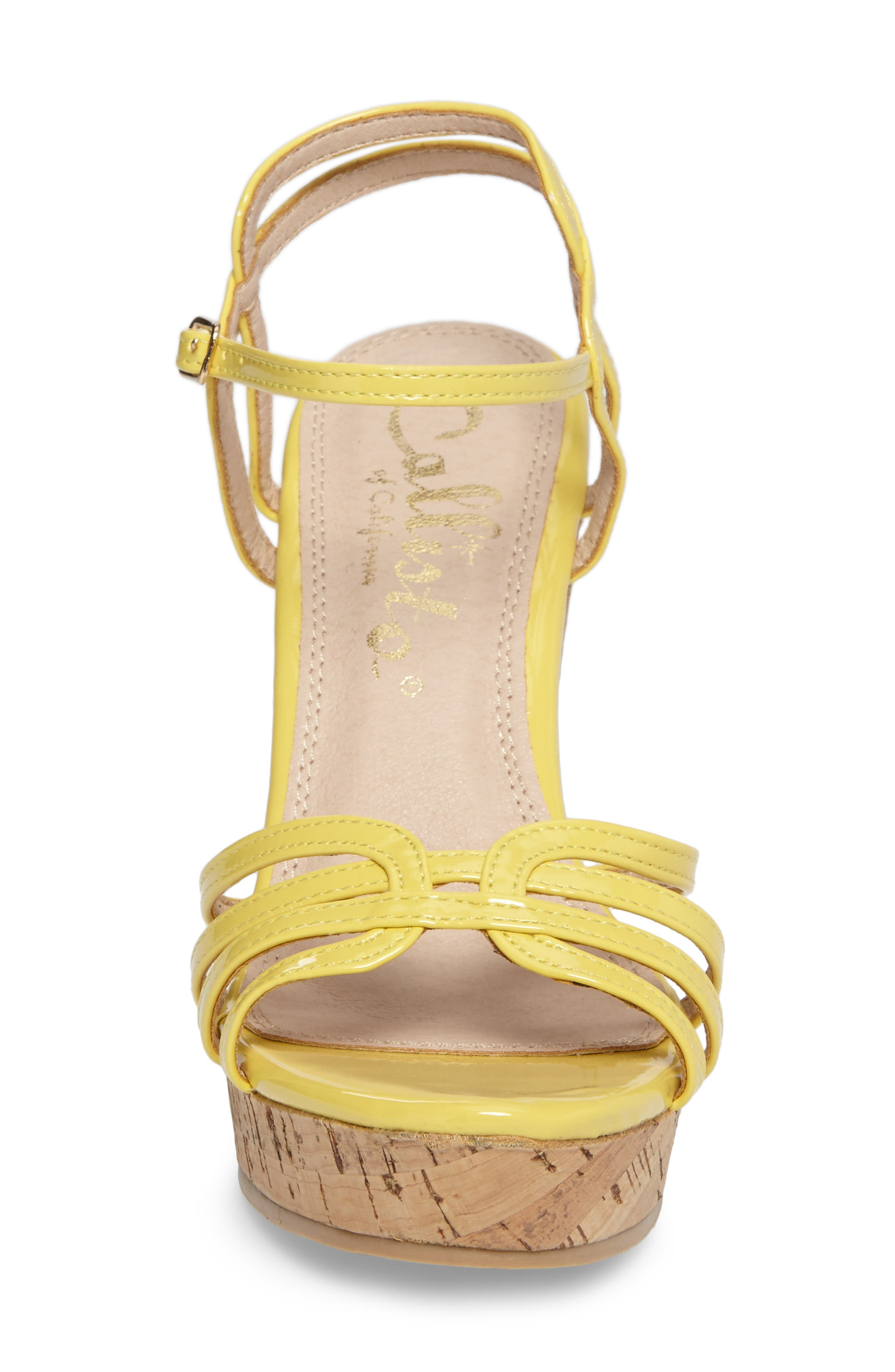 Oasis Platform Wedge Sandal,                             Alternate thumbnail 4, color,                             Yellow Synthetic