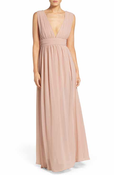 Lulus Plunging V Neck Chiffon Gown