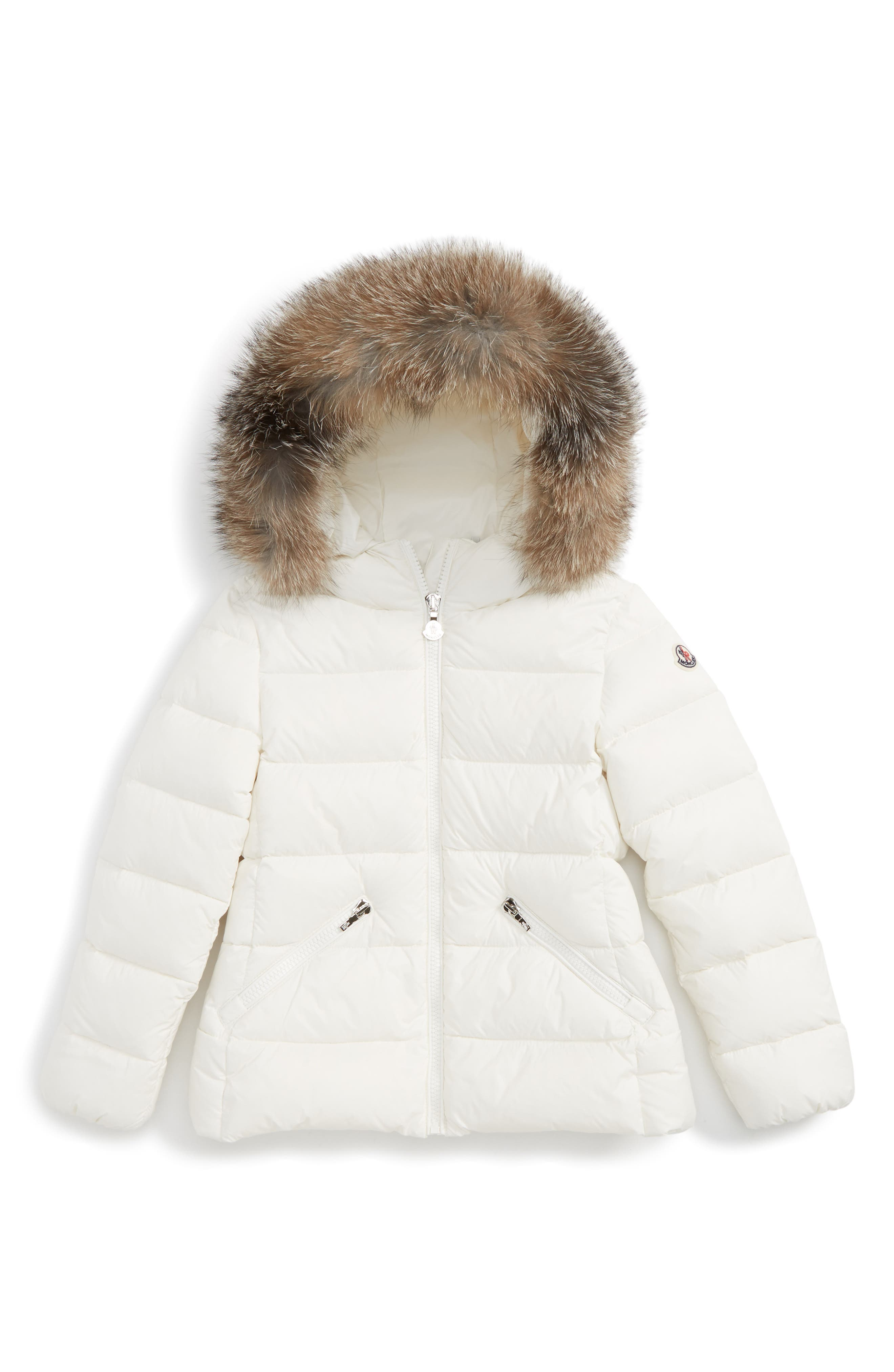 Main Image - Moncler Aimeet Hooded Down Jacket with Genuine Fox Fur (Little Girls & Big Girls)