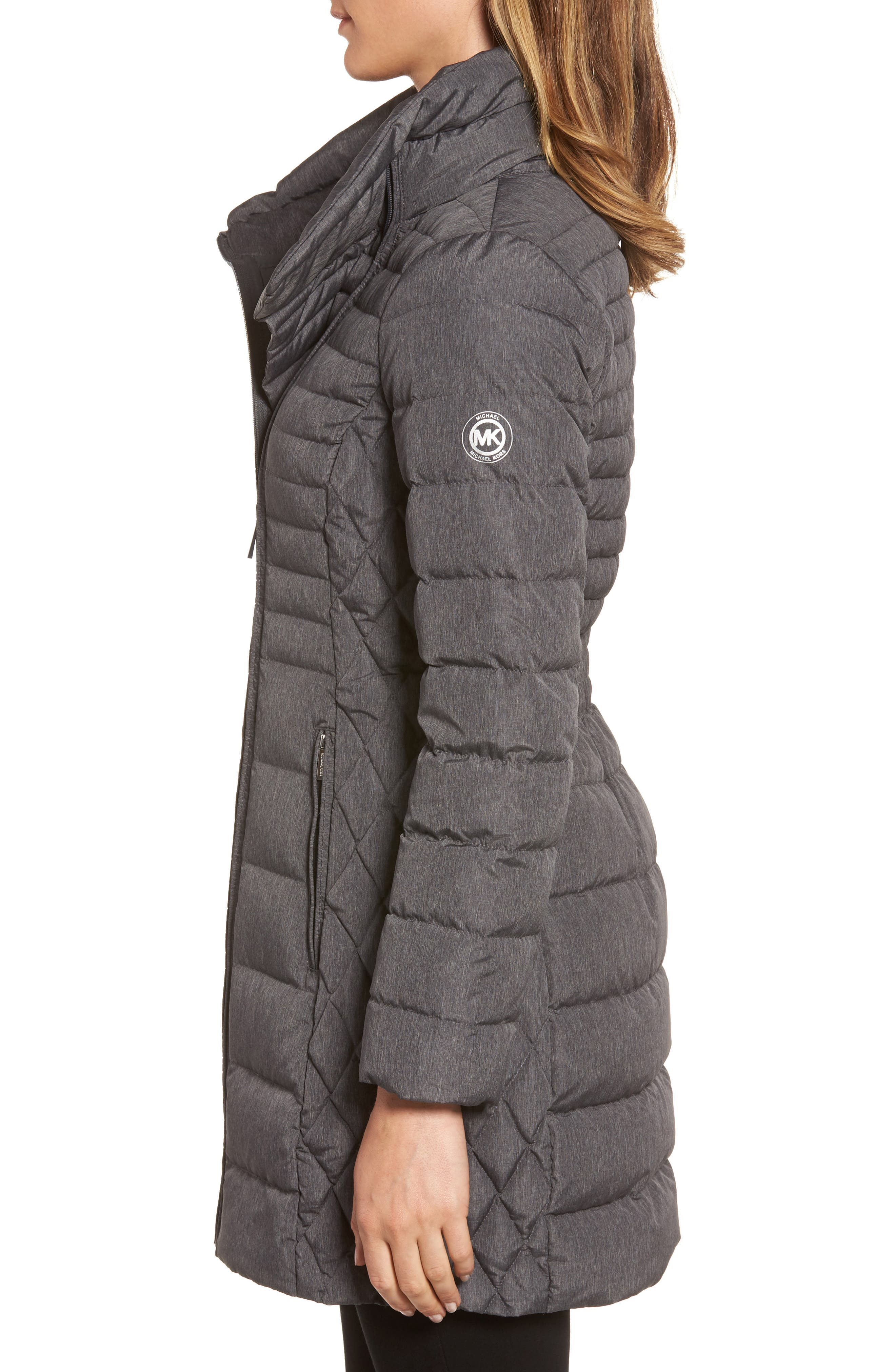 Water Repellent Packable Puffer Coat,                             Alternate thumbnail 3, color,                             Charcoal