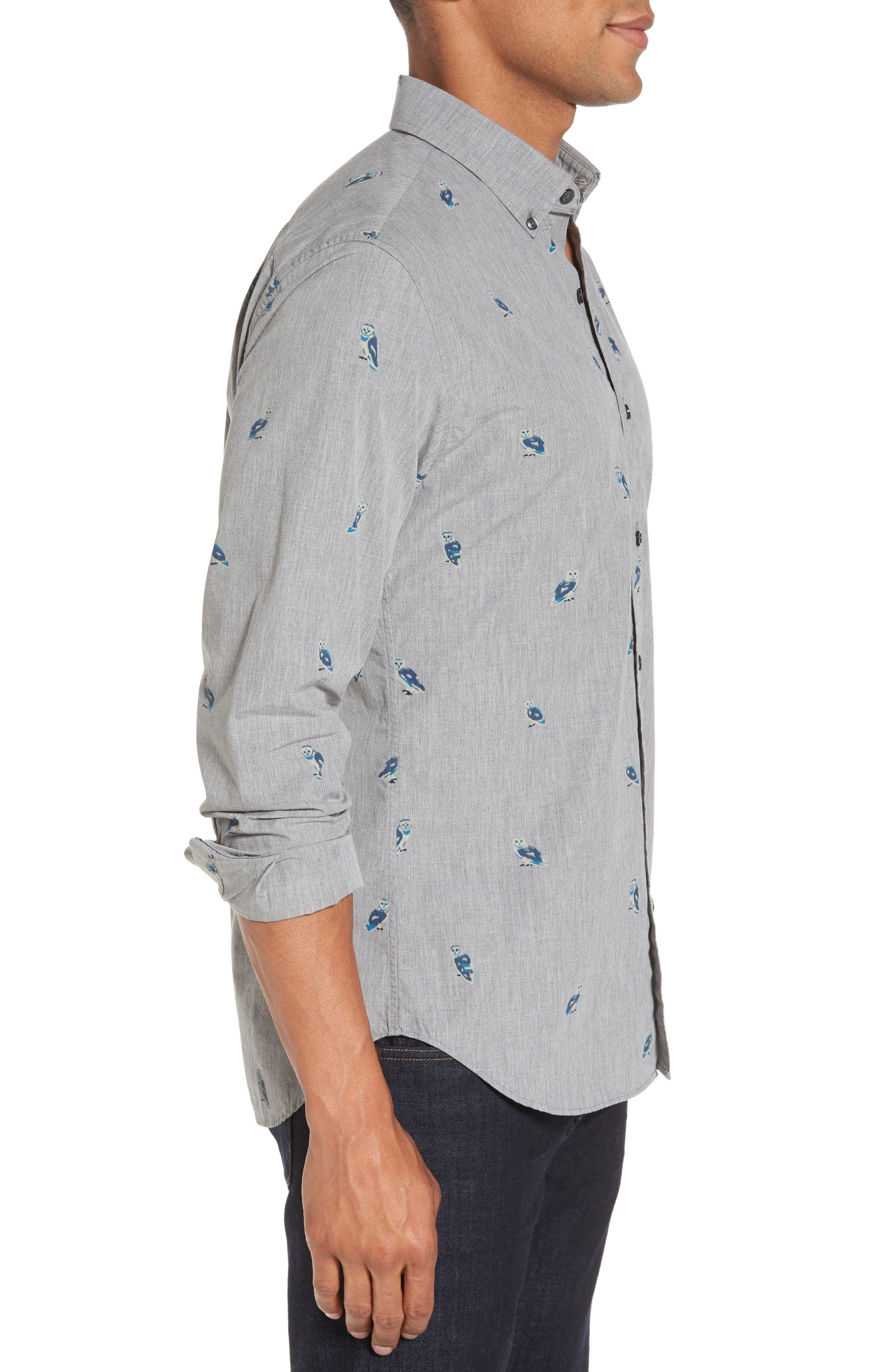 Alternate Image 3  - Bonobos Slim Fit Owl Print Sport Shirt
