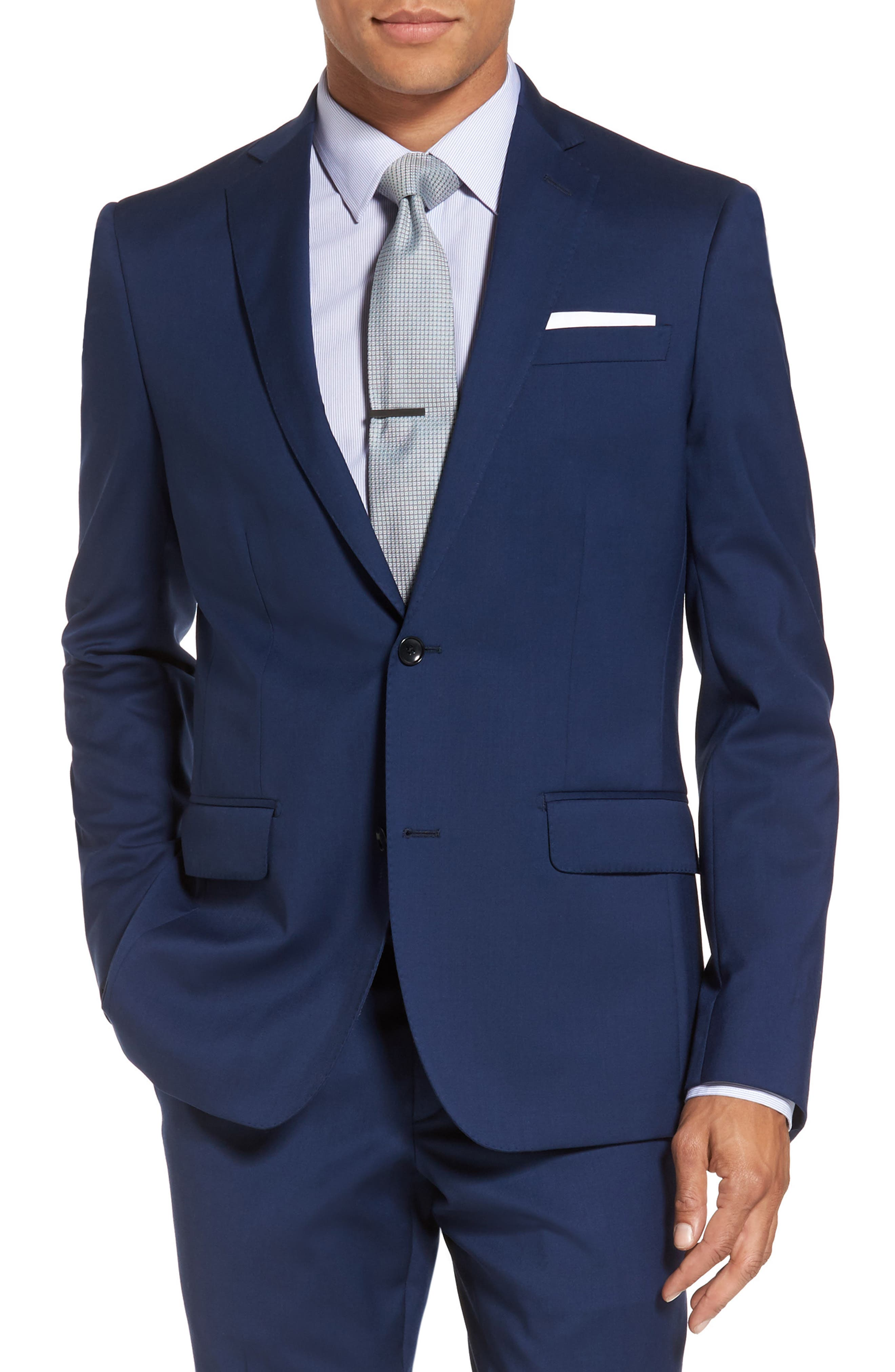Classic Fit Solid Wool Suit,                             Alternate thumbnail 5, color,                             High Blue