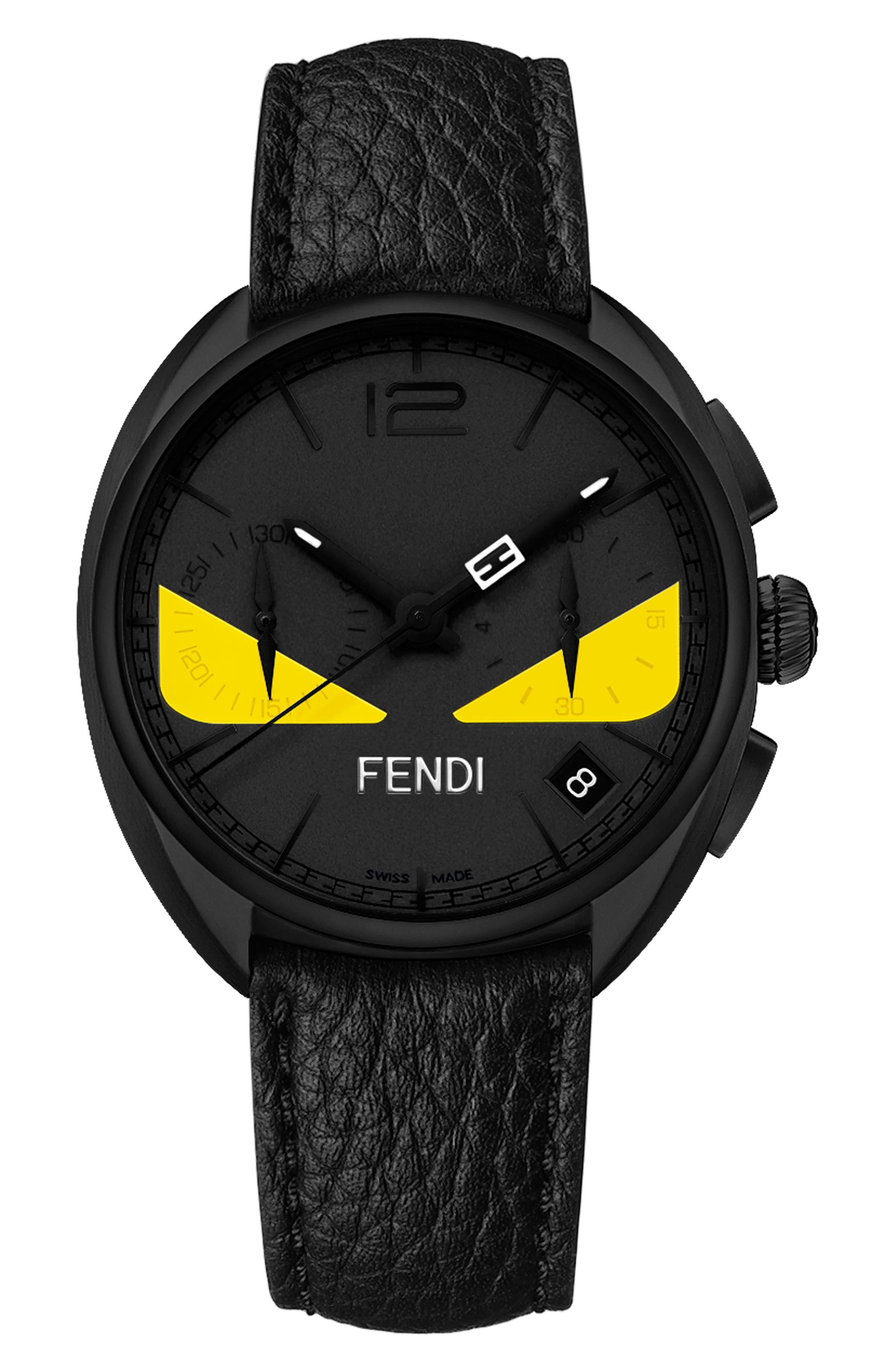 Main Image - Fendi Bug Chronograph Leather Strap Watch, 40mm