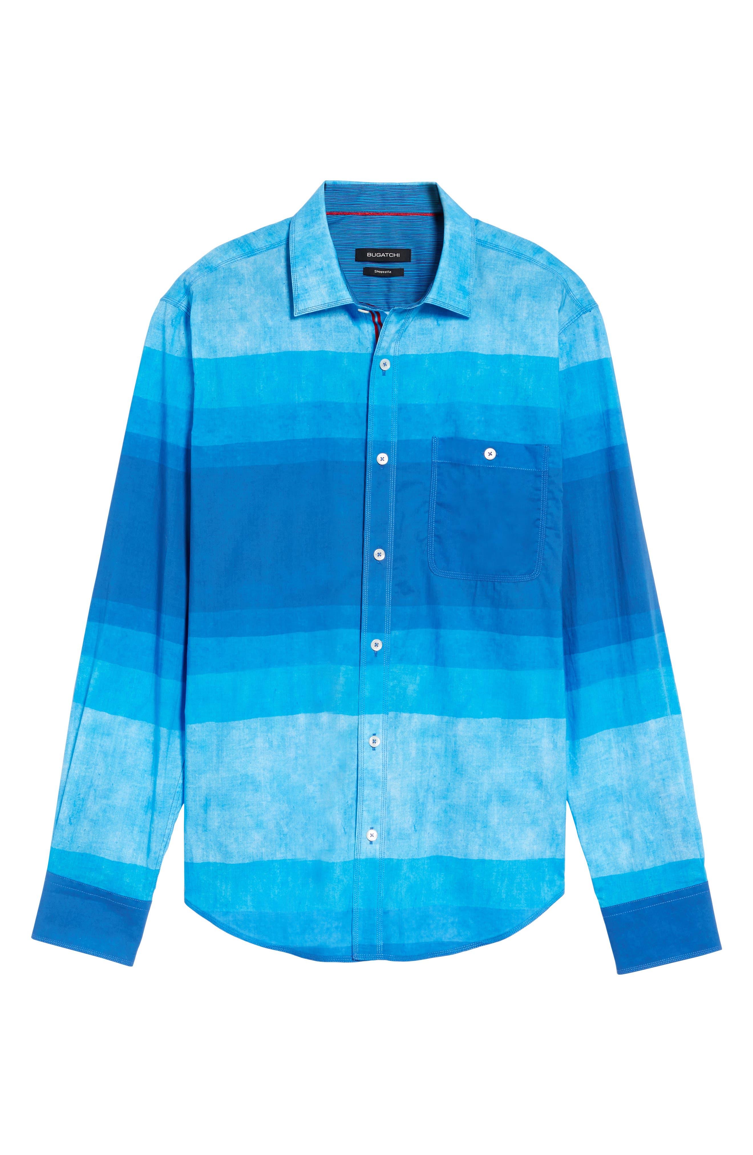 Shaped Fit Colorblock Sport Shirt,                             Alternate thumbnail 6, color,                             Classic Blue