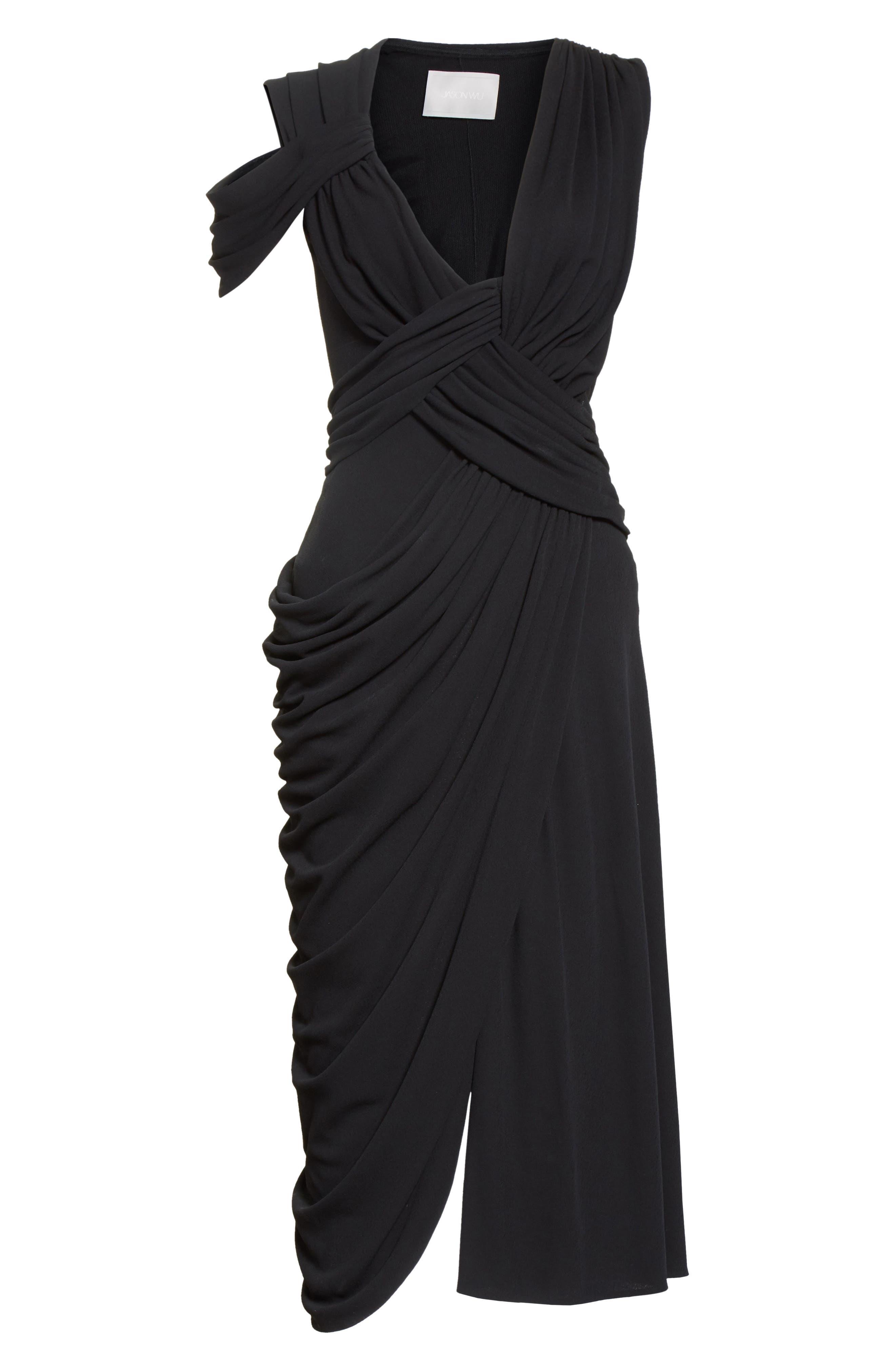 Draped Jersey Cocktail Dress,                             Alternate thumbnail 7, color,                             Black