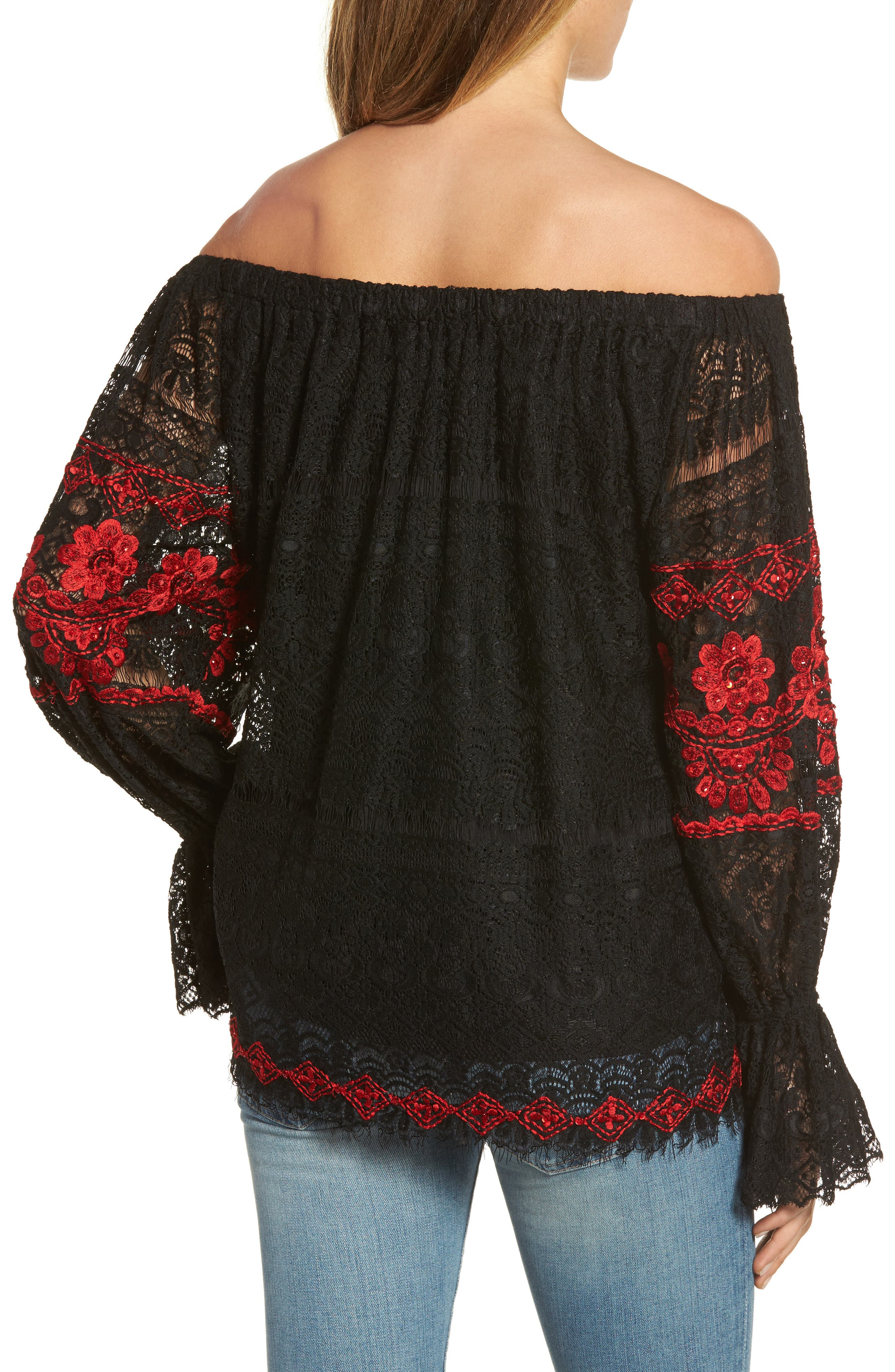 Clare Off the Shoulder Lace Top,                             Alternate thumbnail 2, color,                             Black