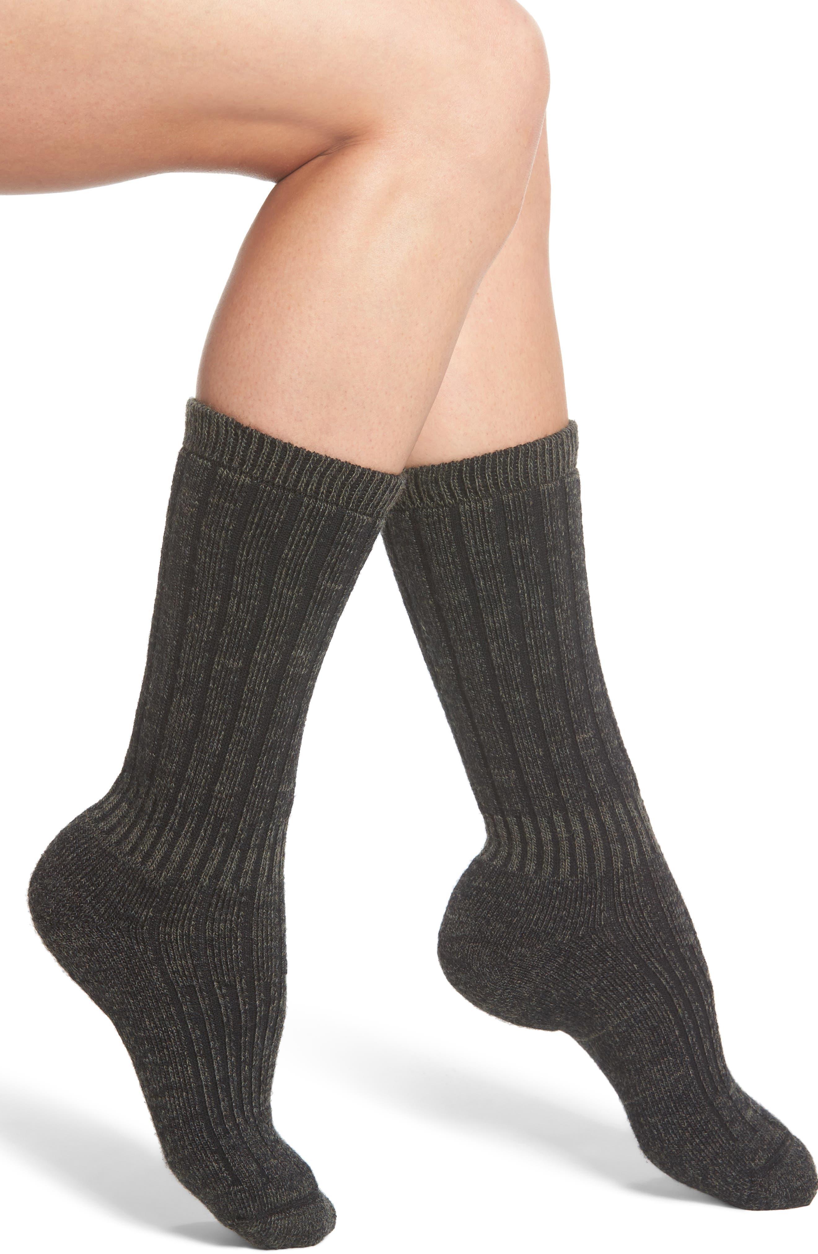 Hiker Wool Blend Crew Socks,                         Main,                         color, Olive Green Hthr