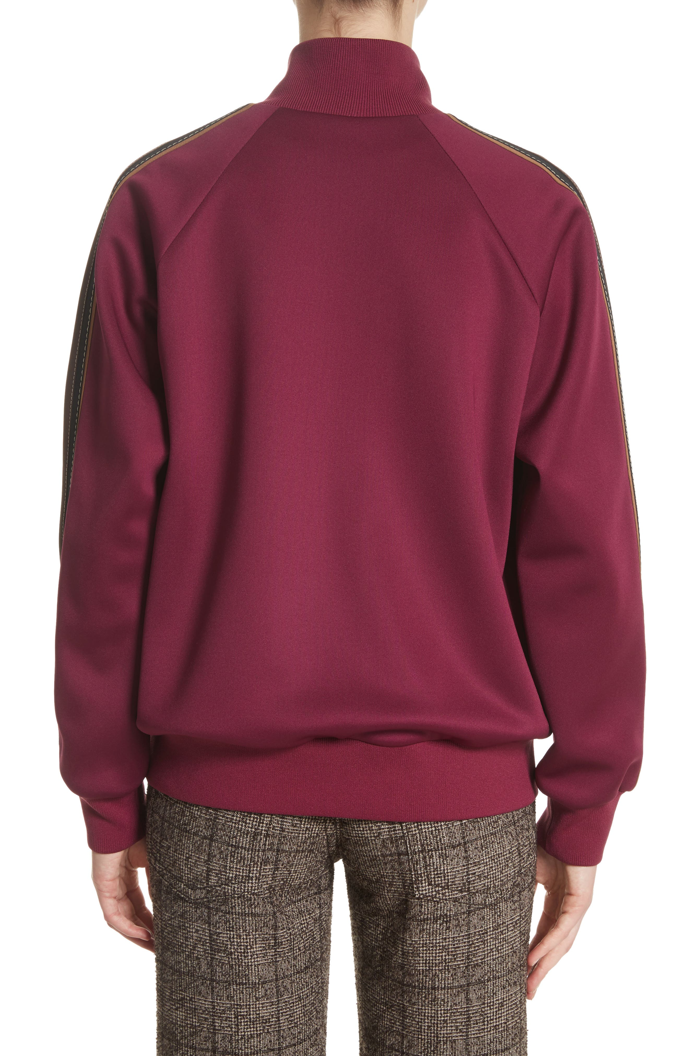 Zip Jersey Track Jacket,                             Alternate thumbnail 2, color,                             Burgundy Multi