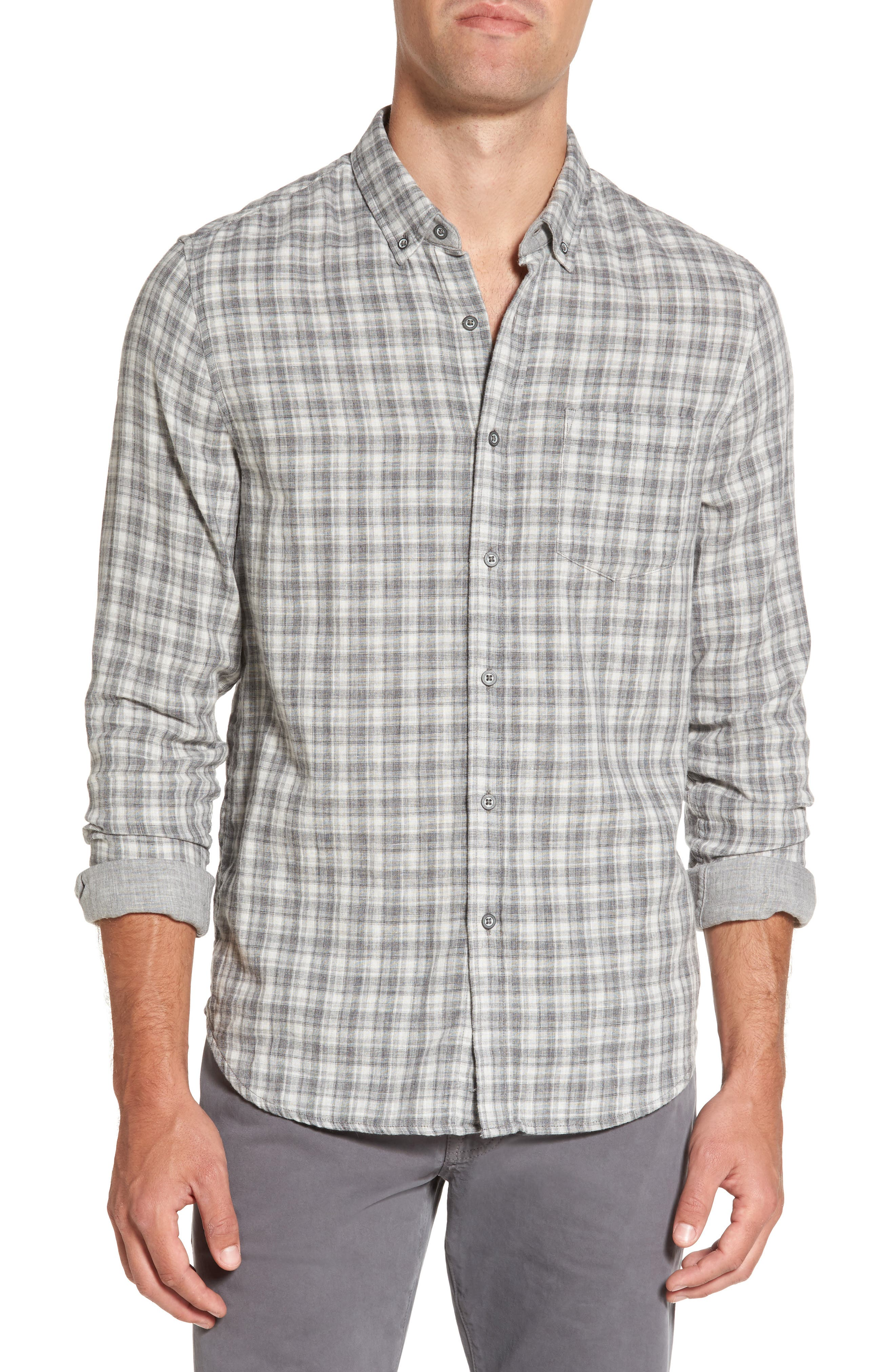 Grady Plaid Sport Shirt,                             Main thumbnail 1, color,                             Dlp Heather Grey/ White