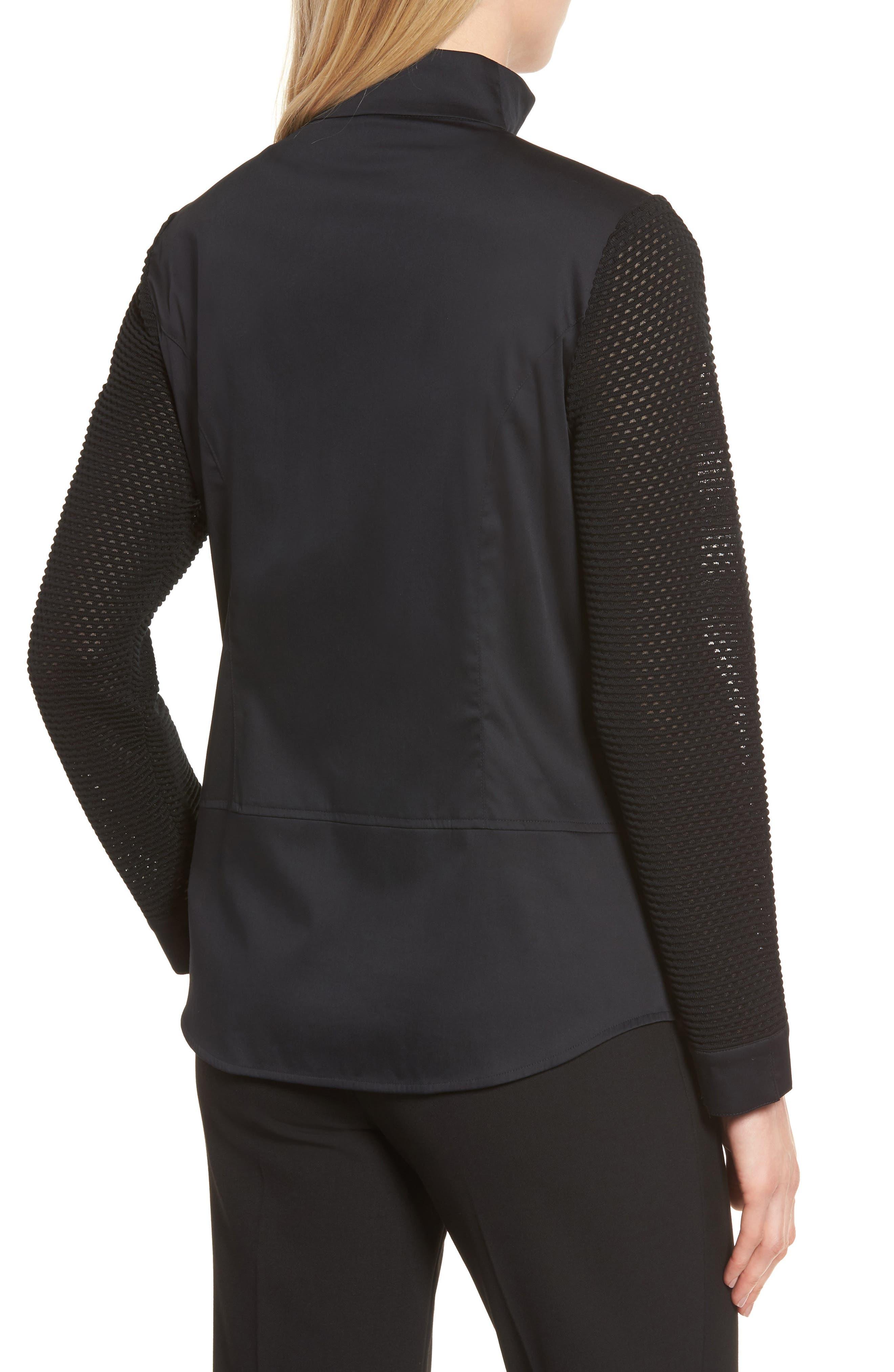 Woven & Knit Jacket,                             Alternate thumbnail 2, color,                             Black