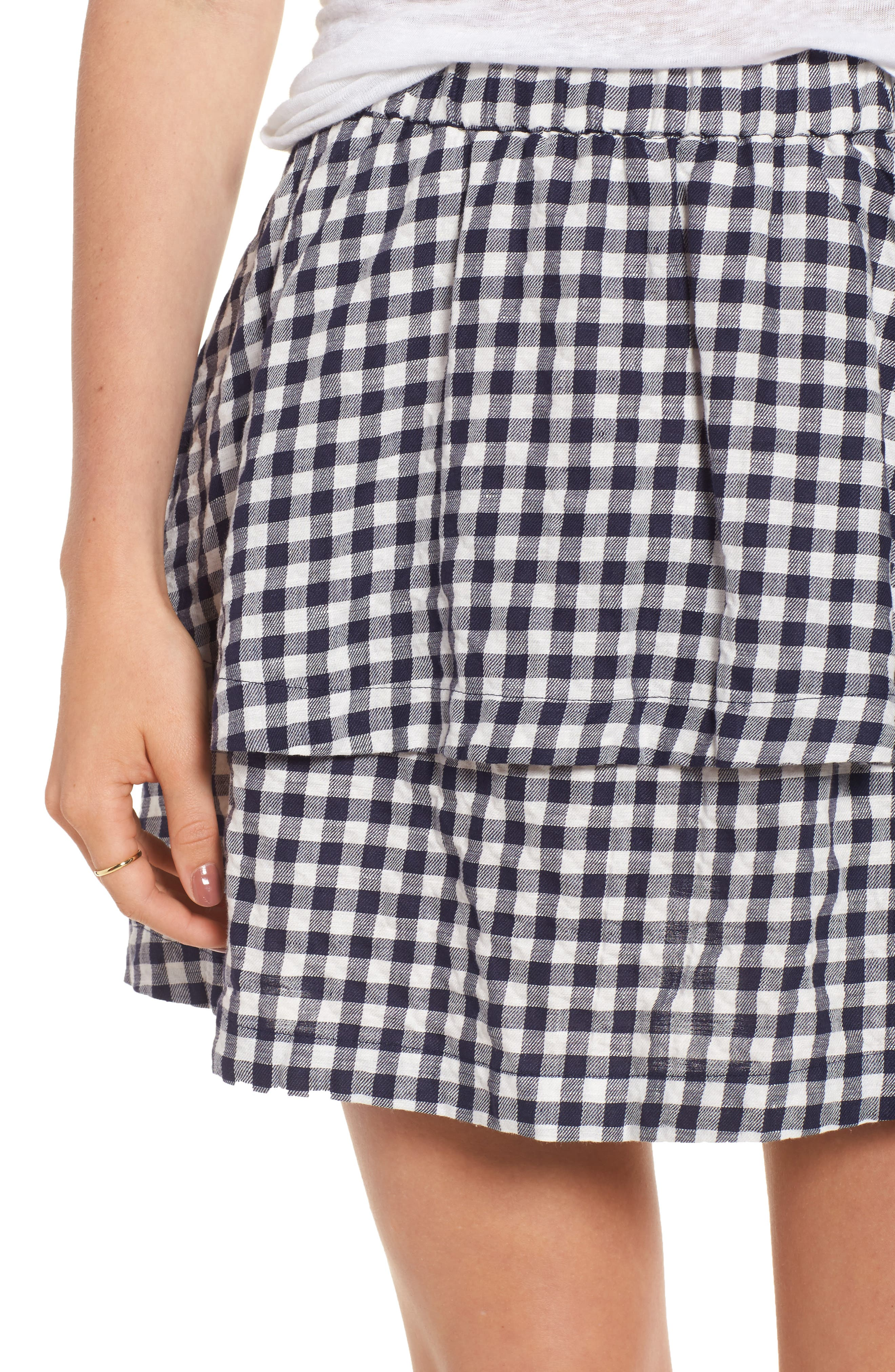 Gingham Tiered Miniskirt,                             Alternate thumbnail 4, color,                             Deep Navy