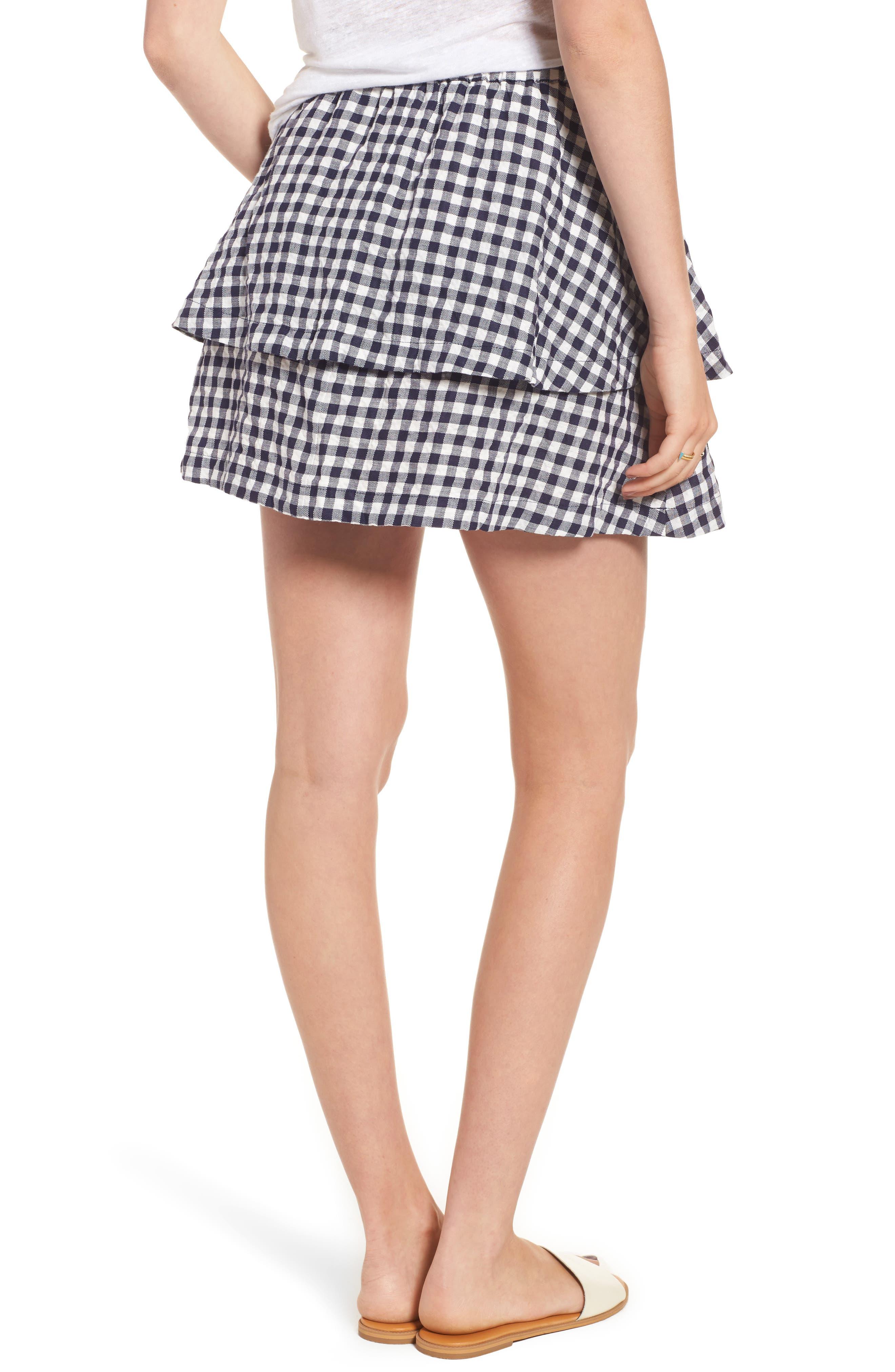 Gingham Tiered Miniskirt,                             Alternate thumbnail 2, color,                             Deep Navy