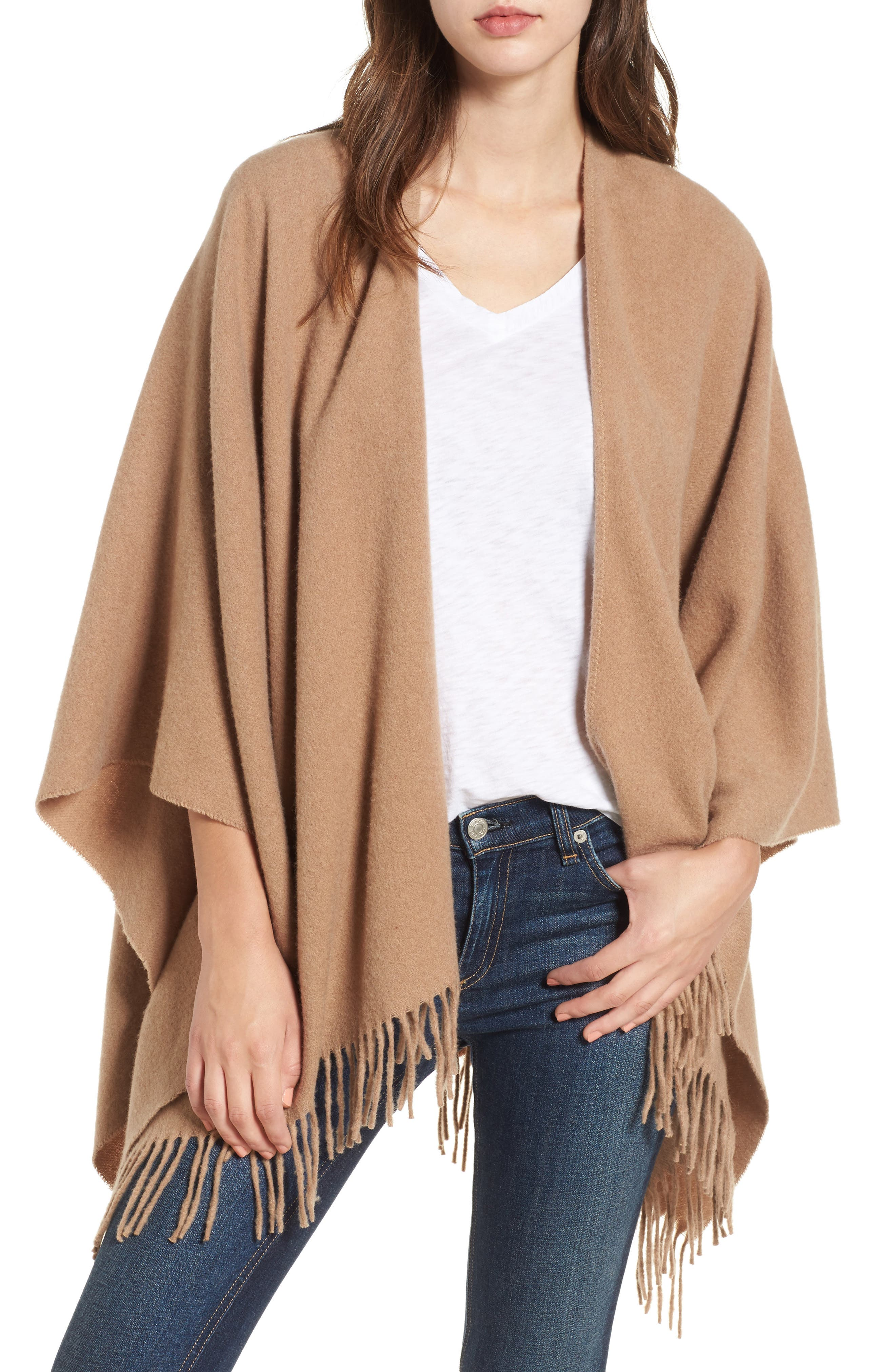 Cashmere Poncho,                             Alternate thumbnail 2, color,                             Heathered Camel