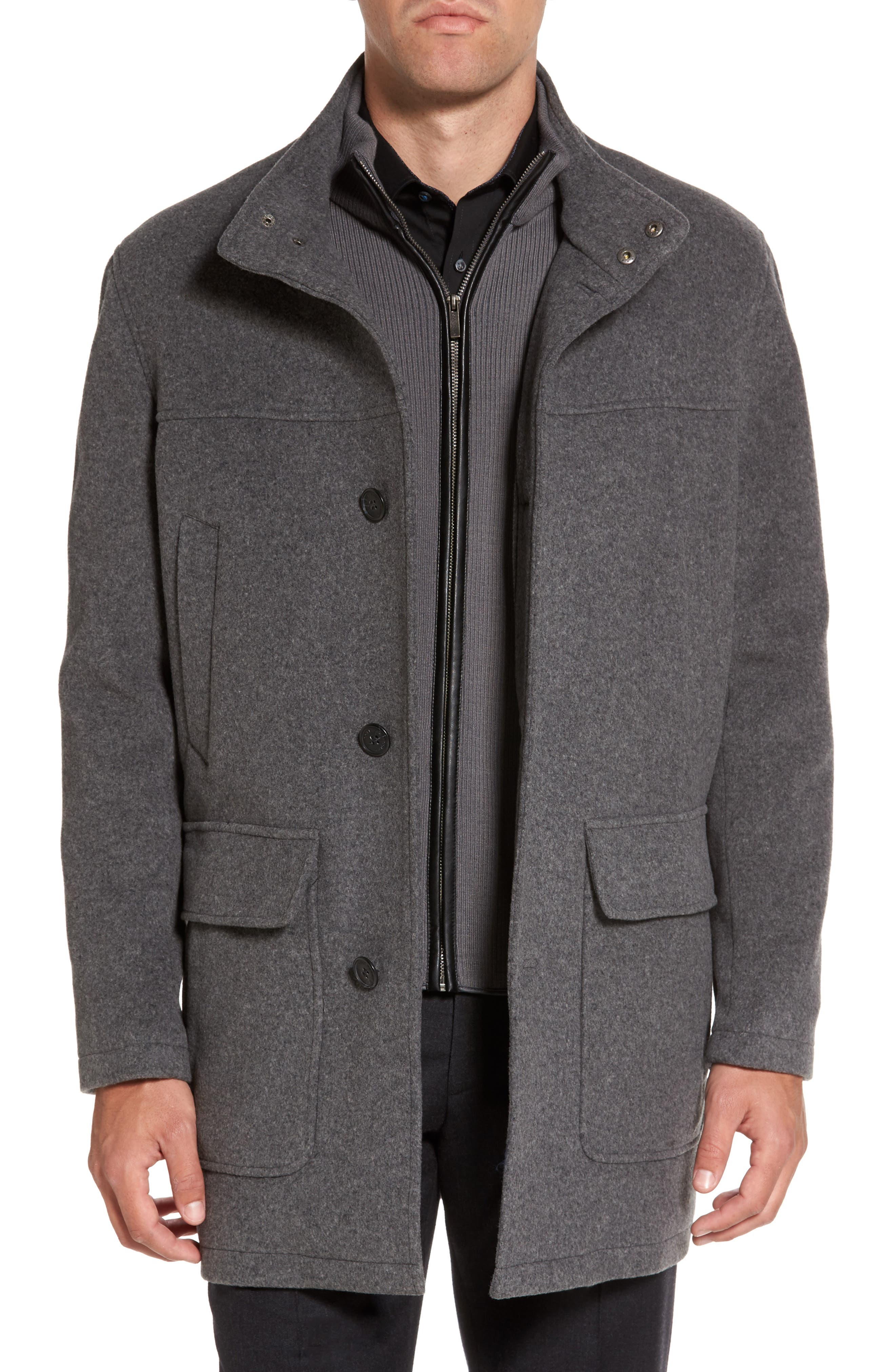 Wool Blend Topcoat with Inset Bib,                             Alternate thumbnail 3, color,                             Light Grey