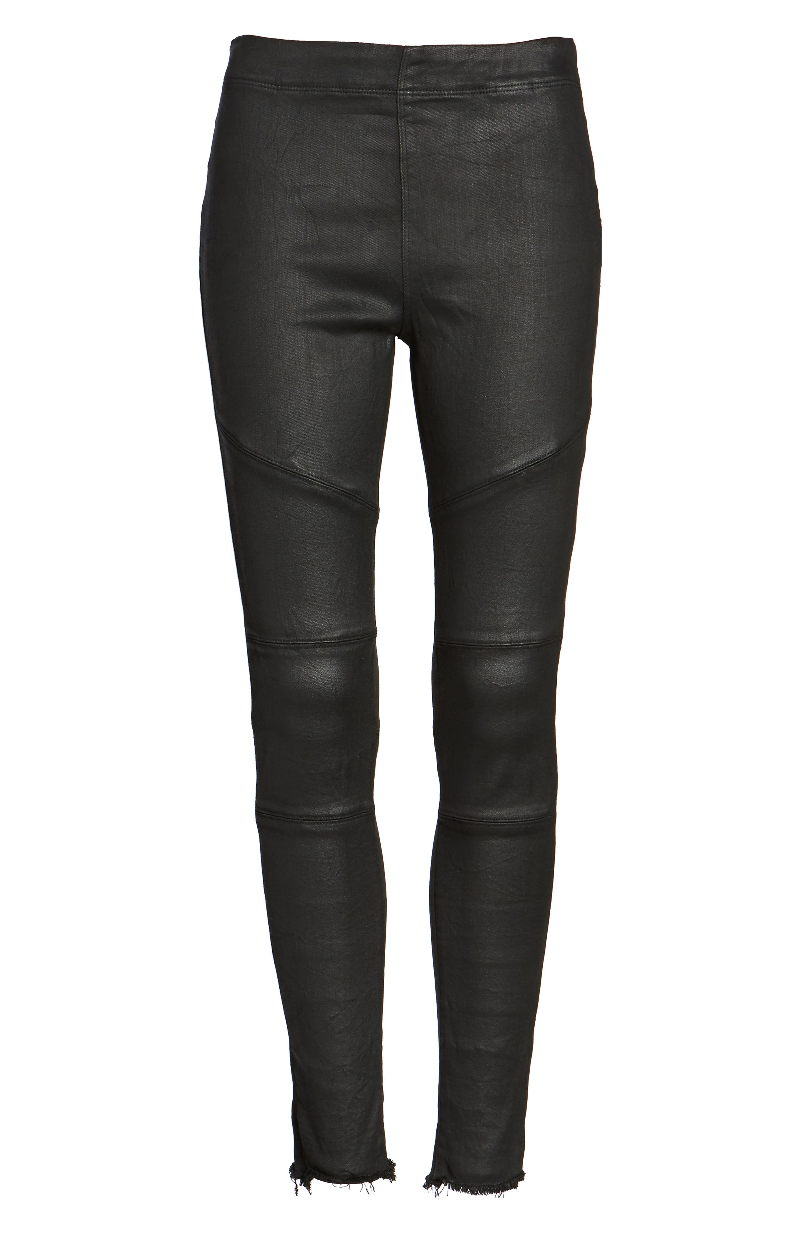 Haven Coated Denim Leggings,                             Alternate thumbnail 6, color,                             Asphalt