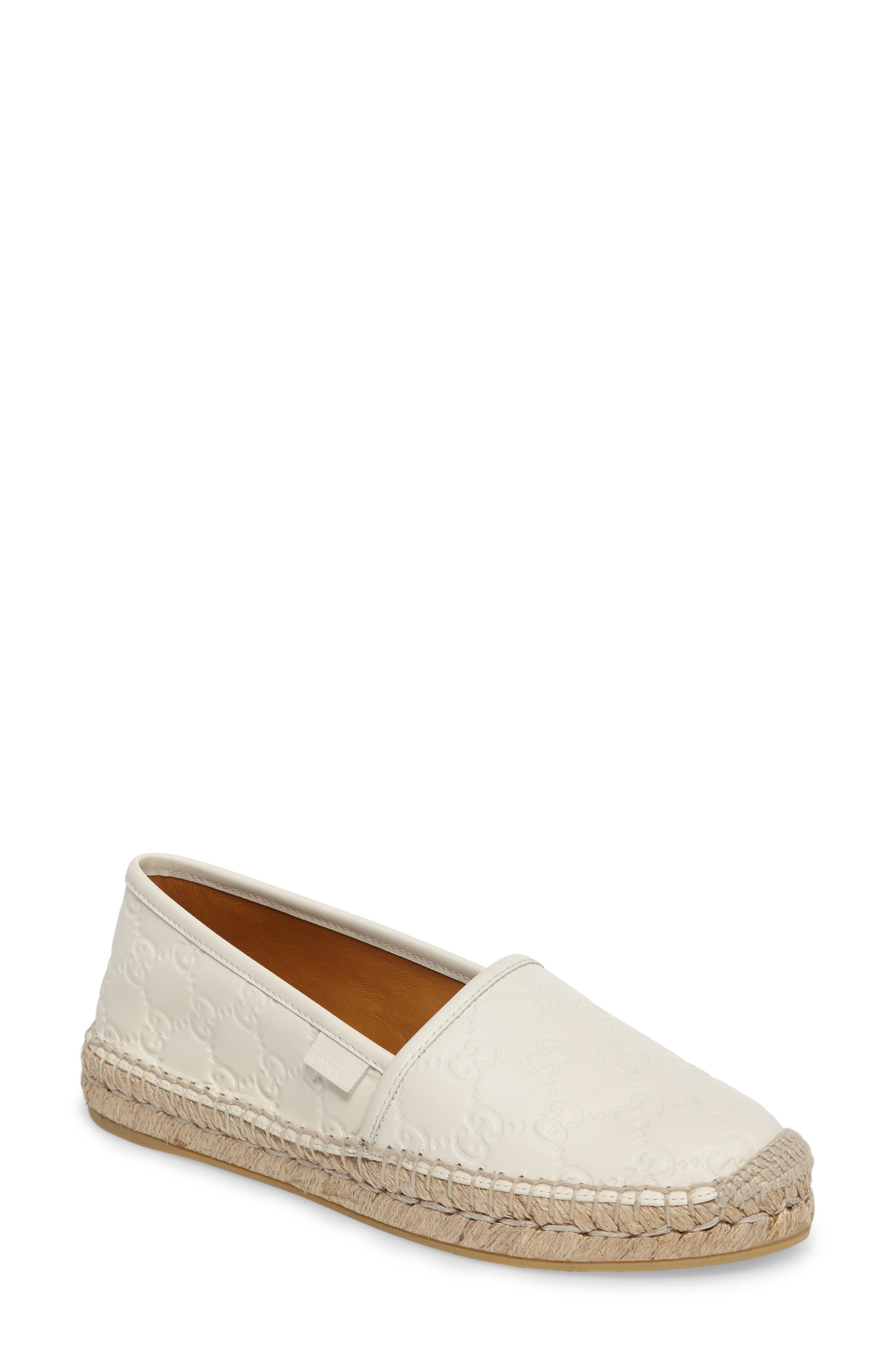 Pilar Espadrille Flat,                         Main,                         color, White Leather