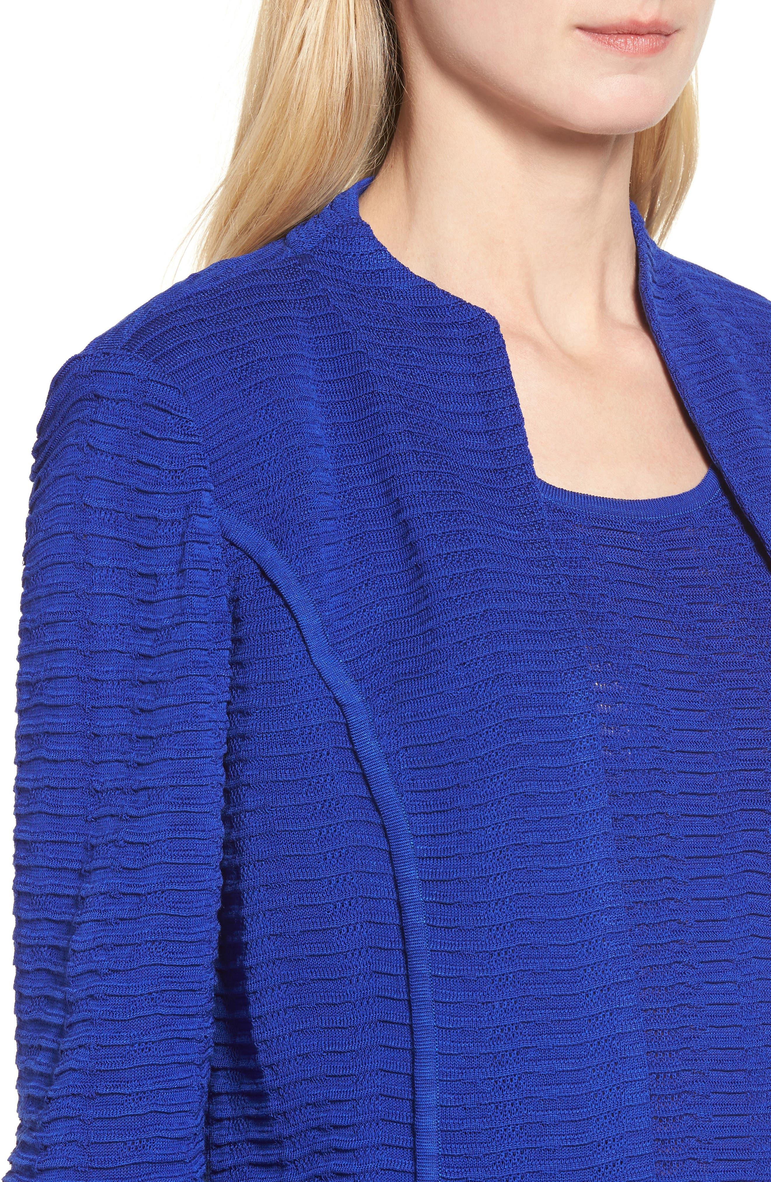 Ripple Knit Jacket,                             Alternate thumbnail 4, color,                             Blue Flame
