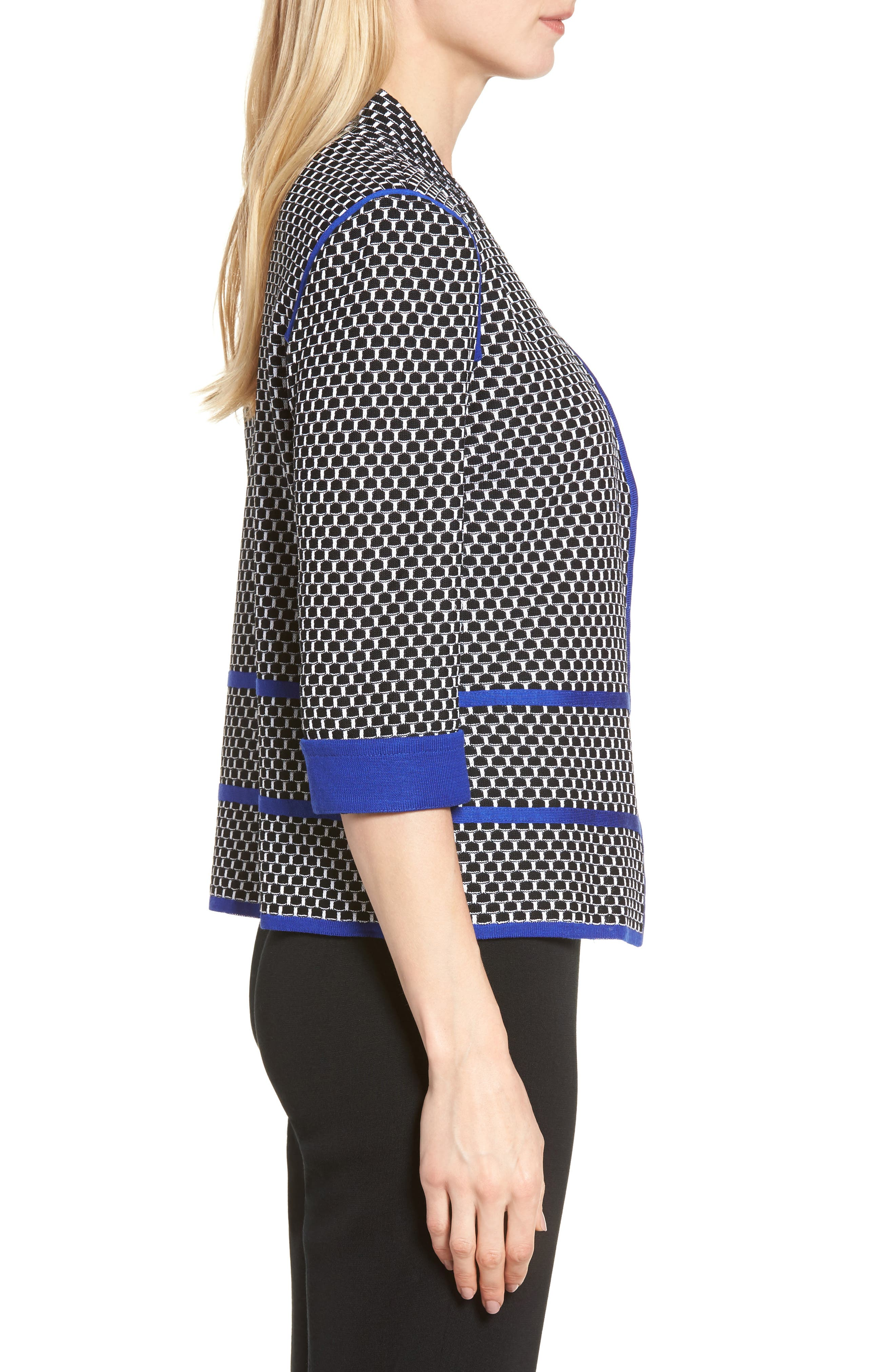 Jacquard Knit Jacket,                             Alternate thumbnail 3, color,                             Black/ Blue Flame/ White