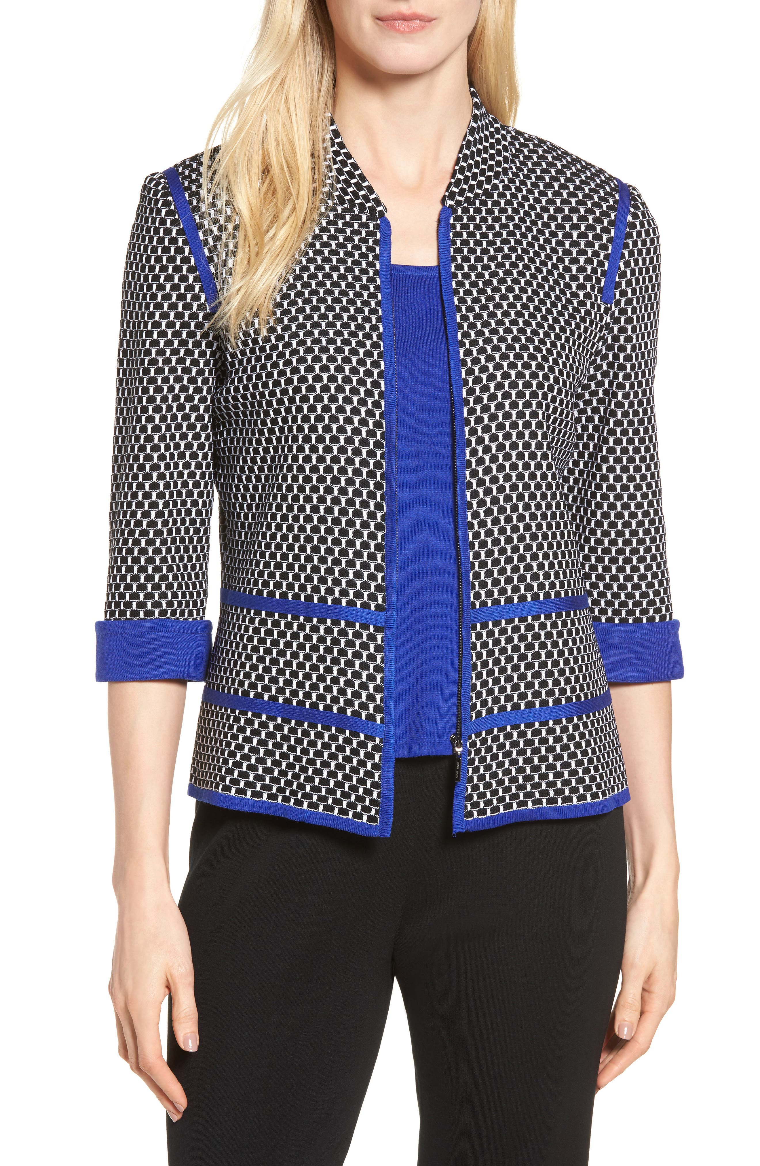 Jacquard Knit Jacket,                             Main thumbnail 1, color,                             Black/ Blue Flame/ White