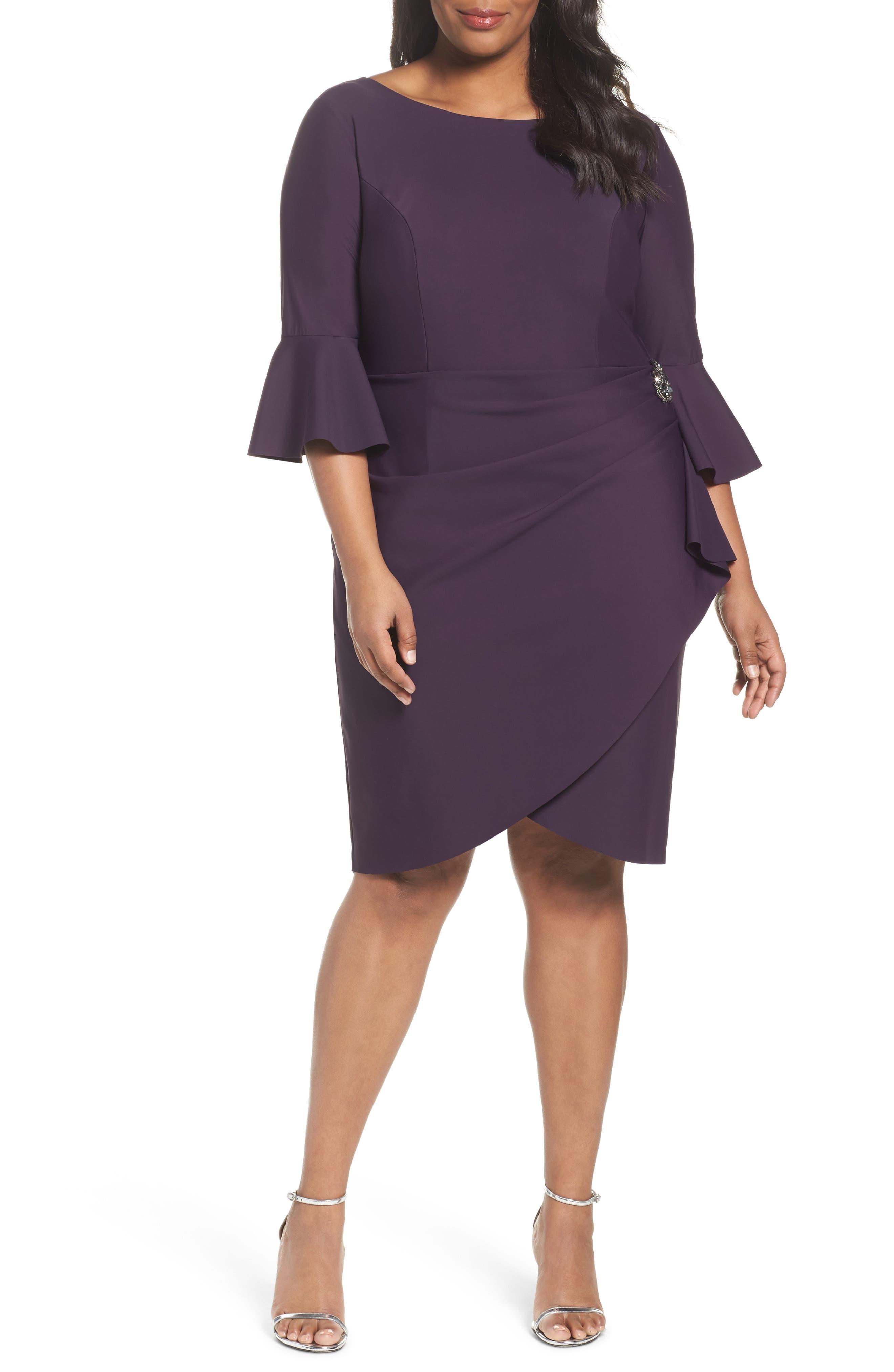 Alternate Image 1 Selected - Alex Evenings Bell Sleeve Sheath Dress (Plus Size)