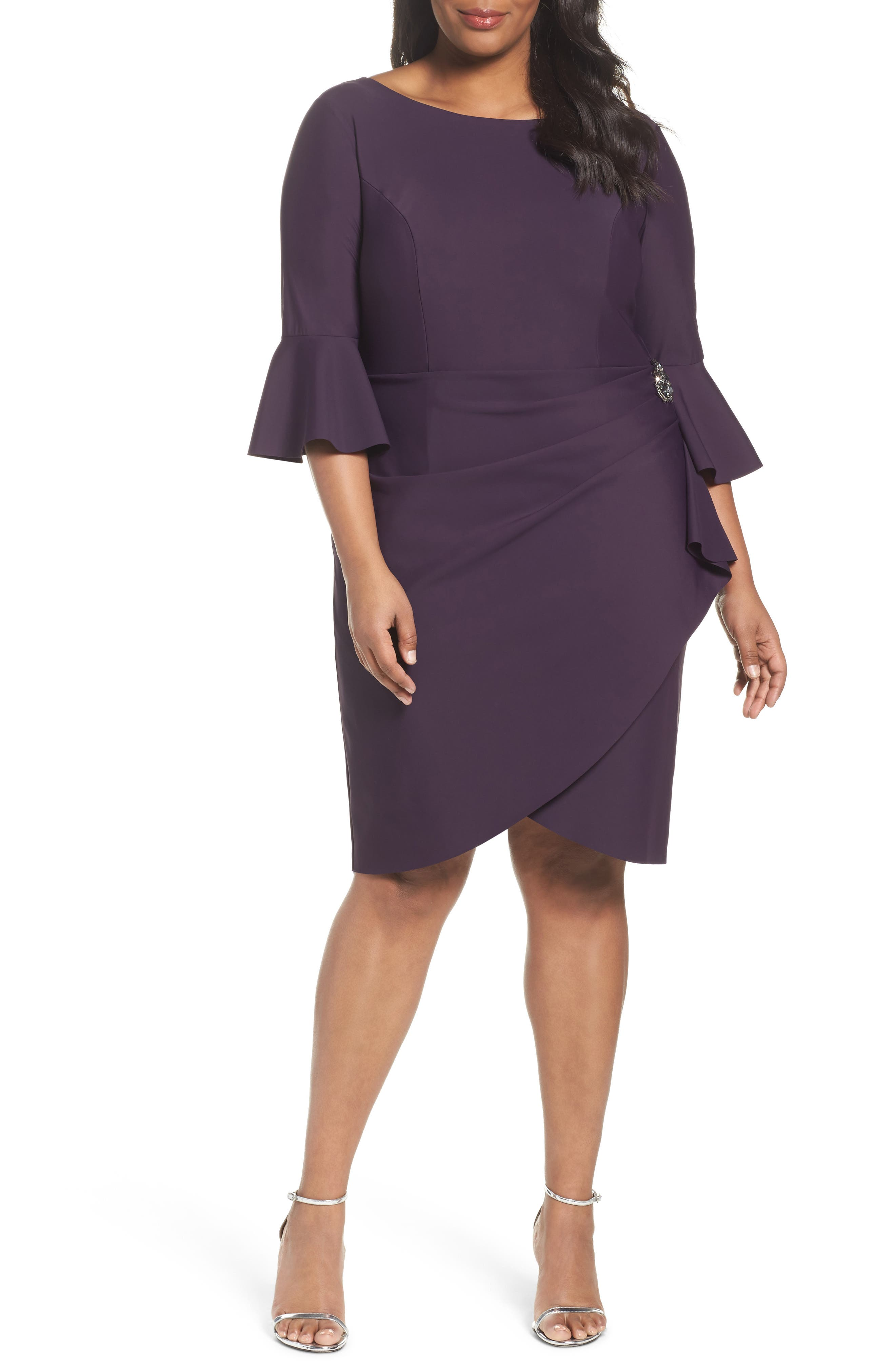 Main Image - Alex Evenings Bell Sleeve Sheath Dress (Plus Size)