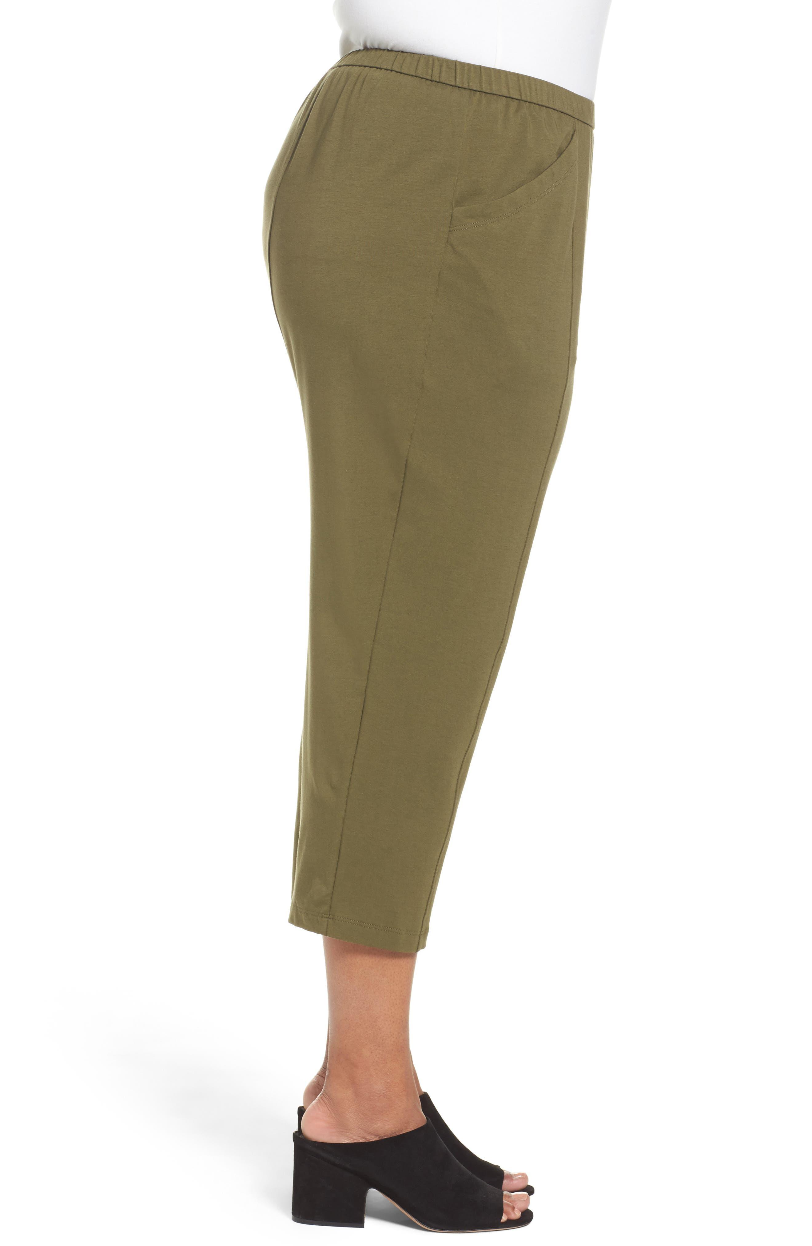 Alternate Image 3  - Eileen Fisher Stretch Organic Cotton Crop Pants (Plus Size)