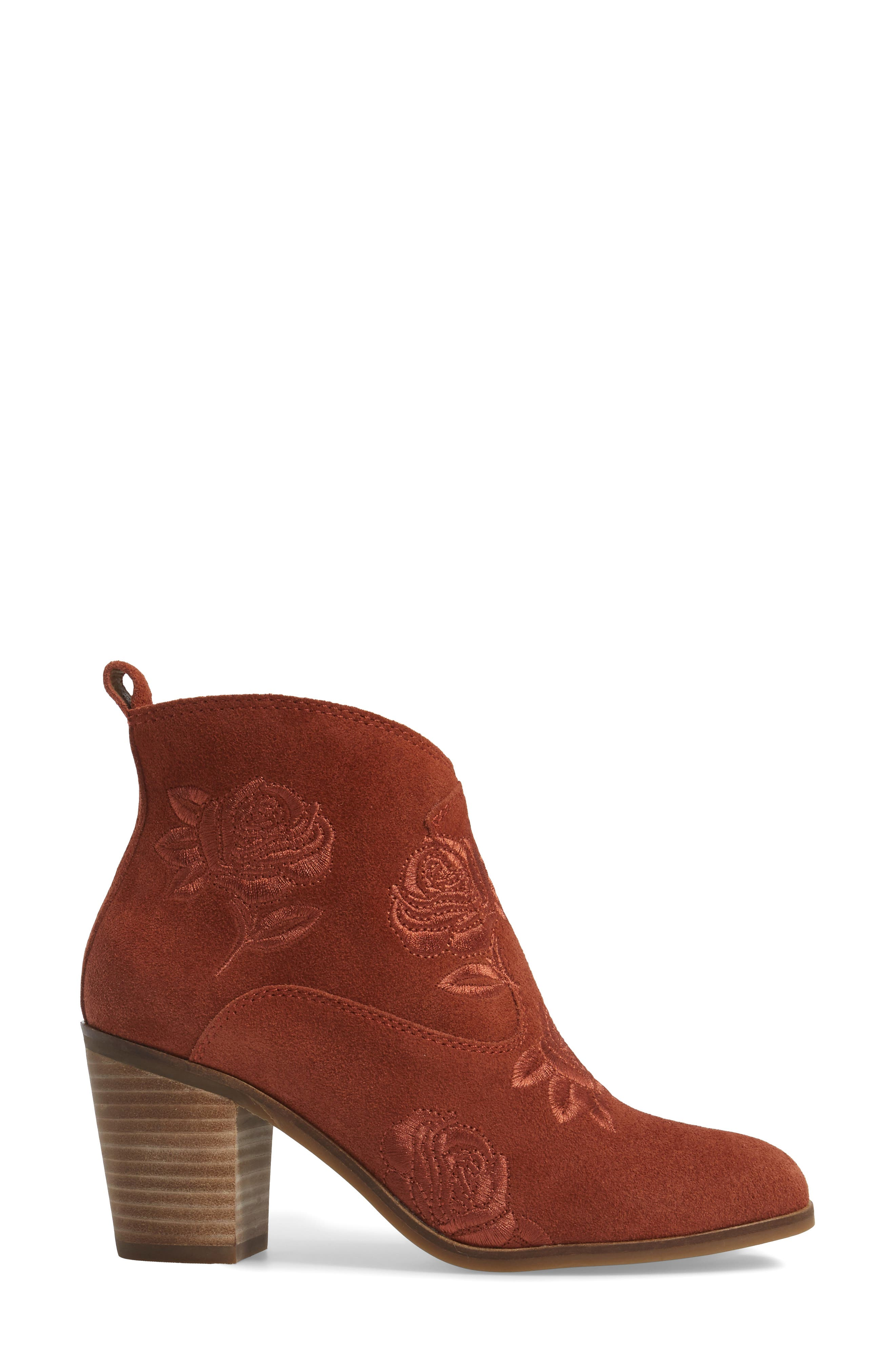 Pexton Embroidered Bootie,                             Alternate thumbnail 3, color,                             Red Oak Suede