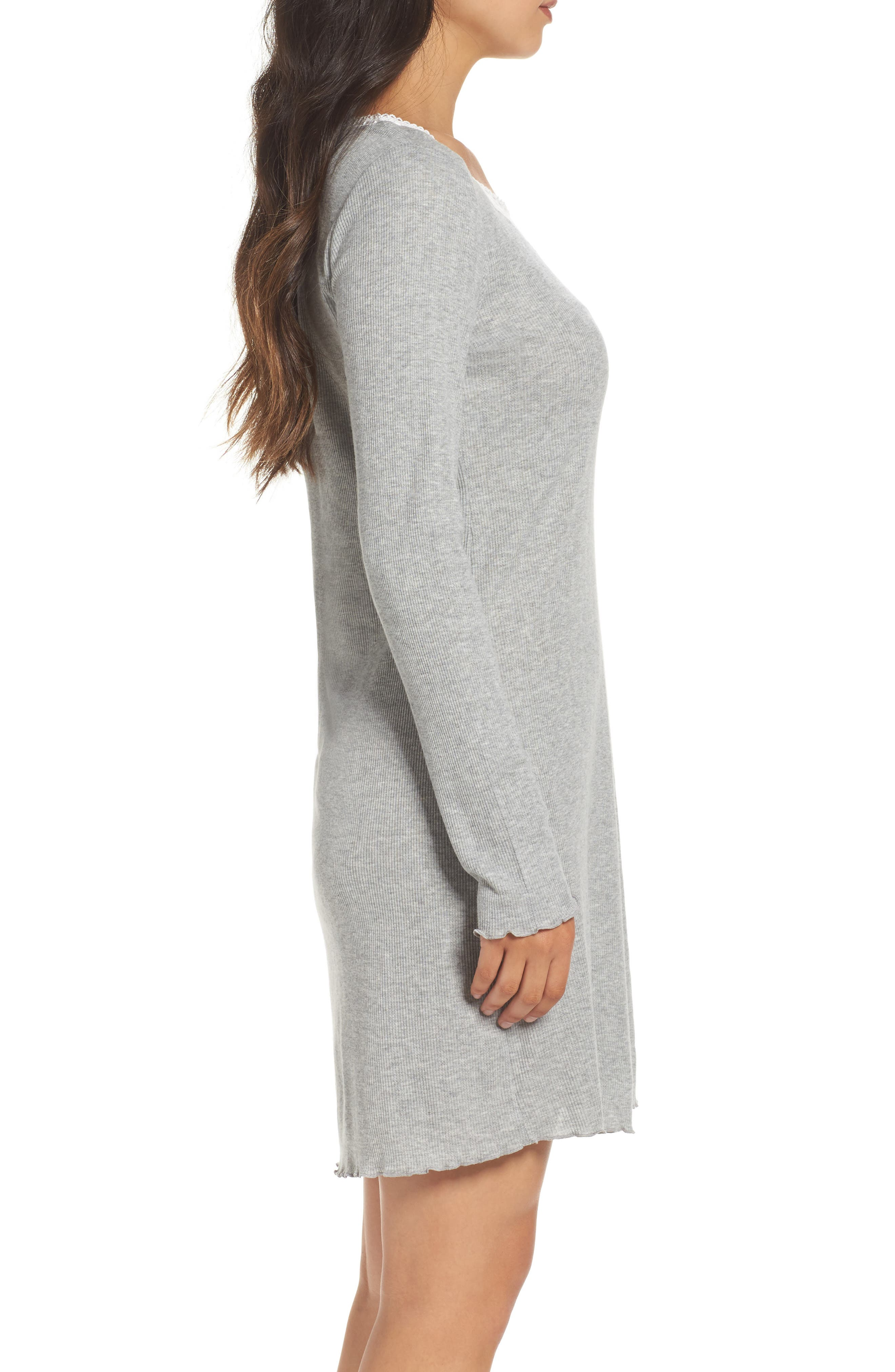 Lace Neck Sleep Shirt,                             Alternate thumbnail 3, color,                             Grey Heather