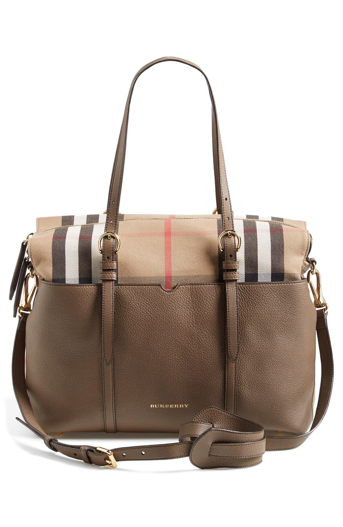 Burberry Classic Check & Leather Diaper Bag | Nordstrom