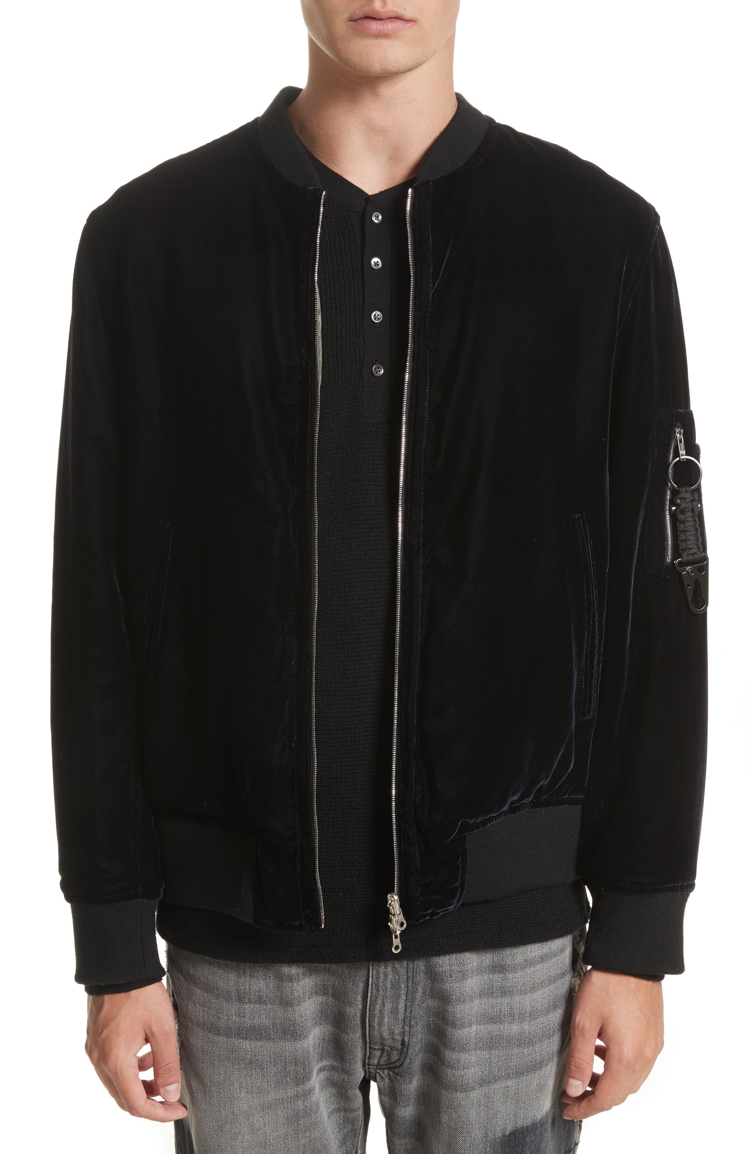 OS-1 Reversible Velvet Bomber Jacket,                         Main,                         color, Black