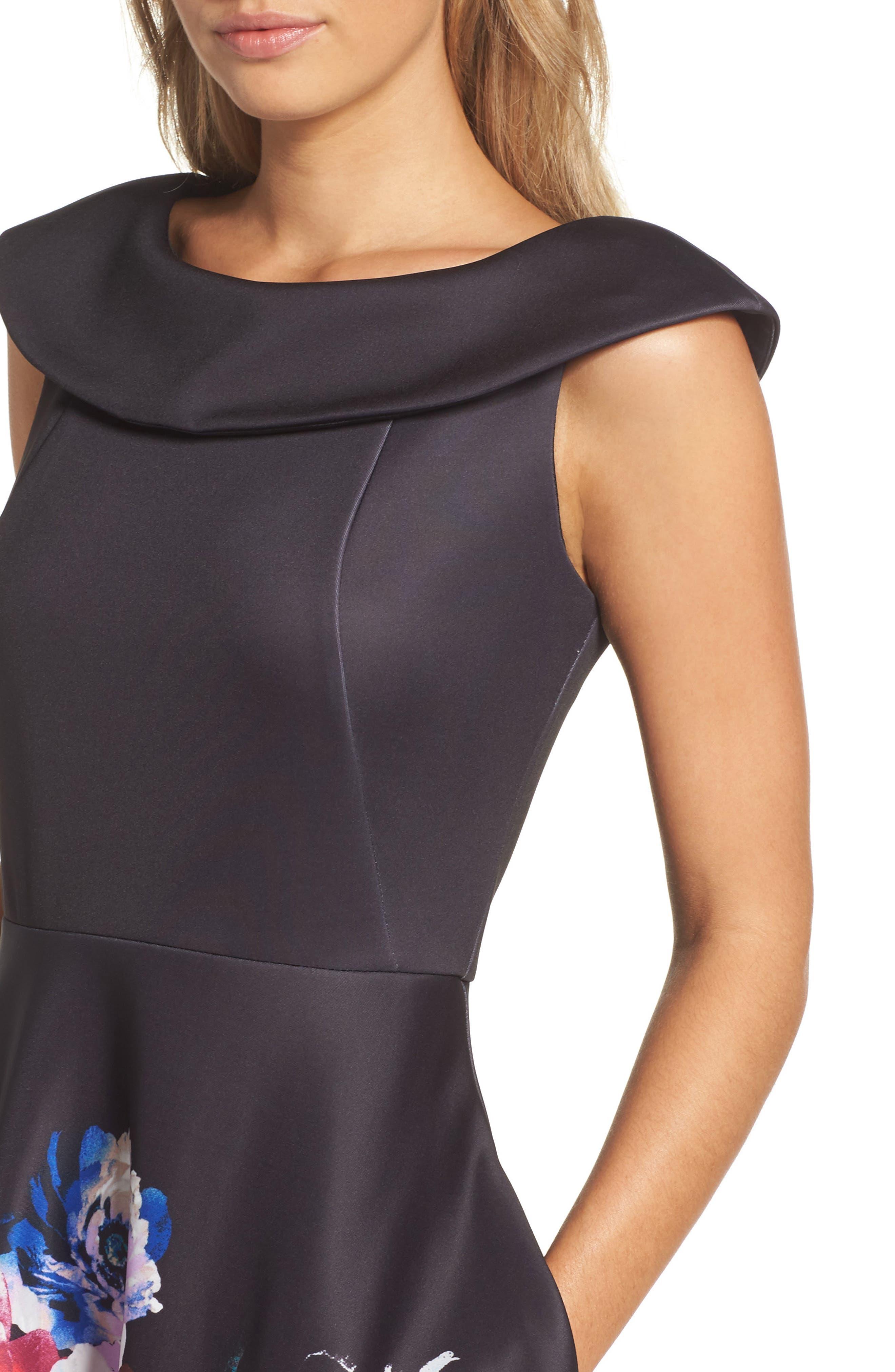 Scuba Knit Fit & Flare Dress,                             Alternate thumbnail 4, color,                             Black Raspberry