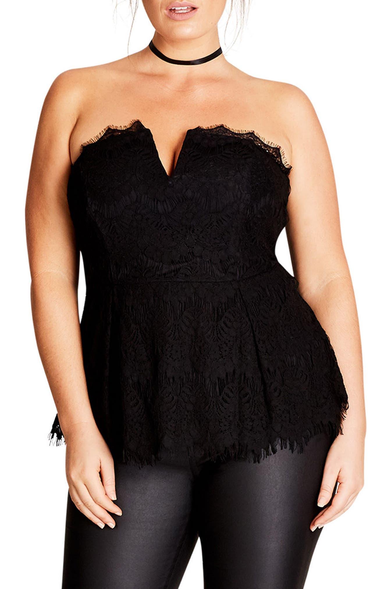 Deep V Strapless Lace Corset Top,                         Main,                         color, Black