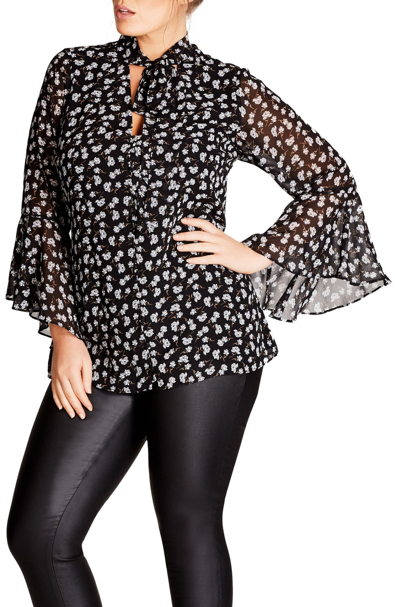 Alternate Image 1 Selected - City Chic Blossom Print Blouse (Plus Size)
