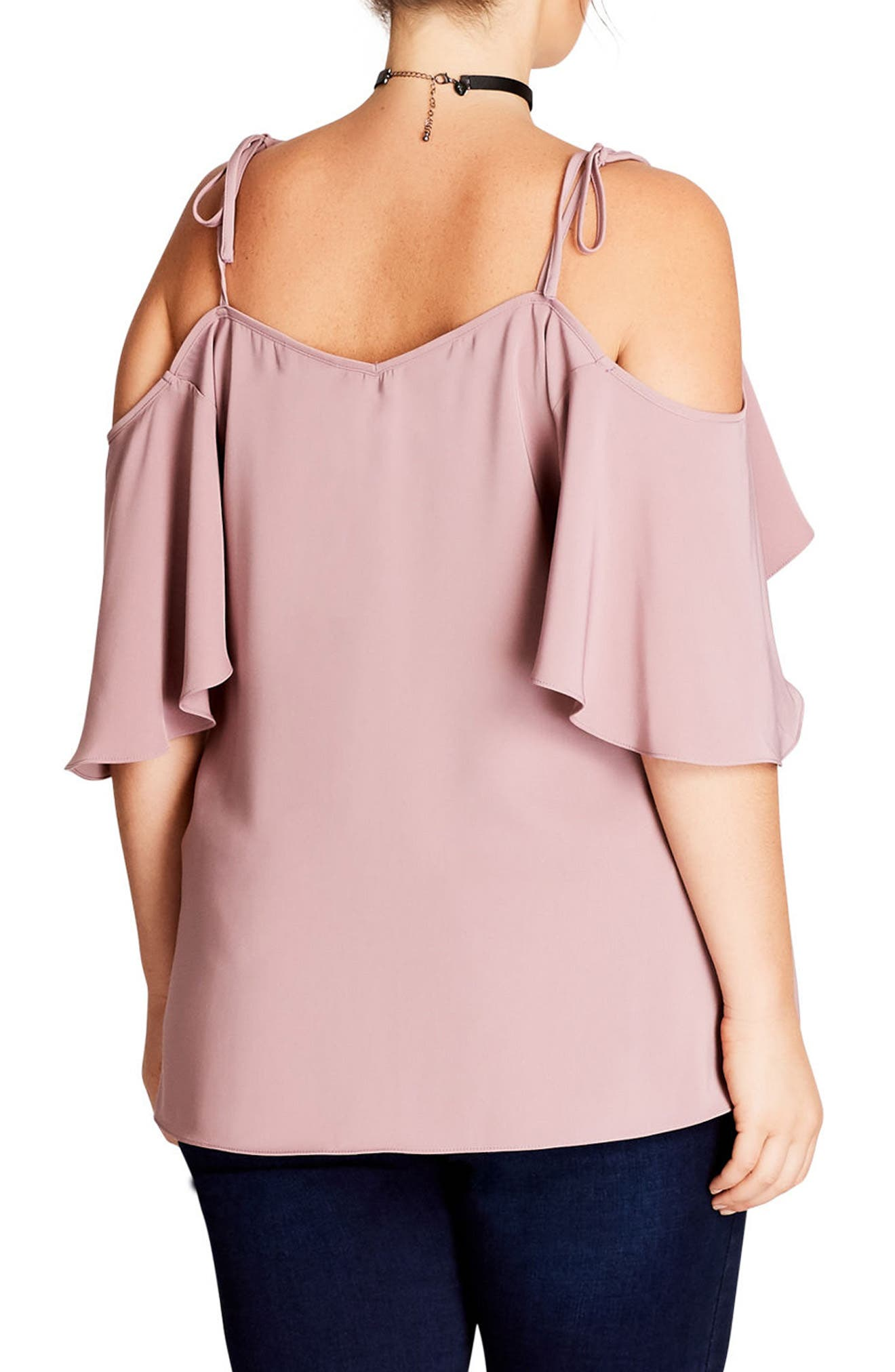 Alternate Image 2  - City Chic Cold Shoulder Blouse (Plus Size)