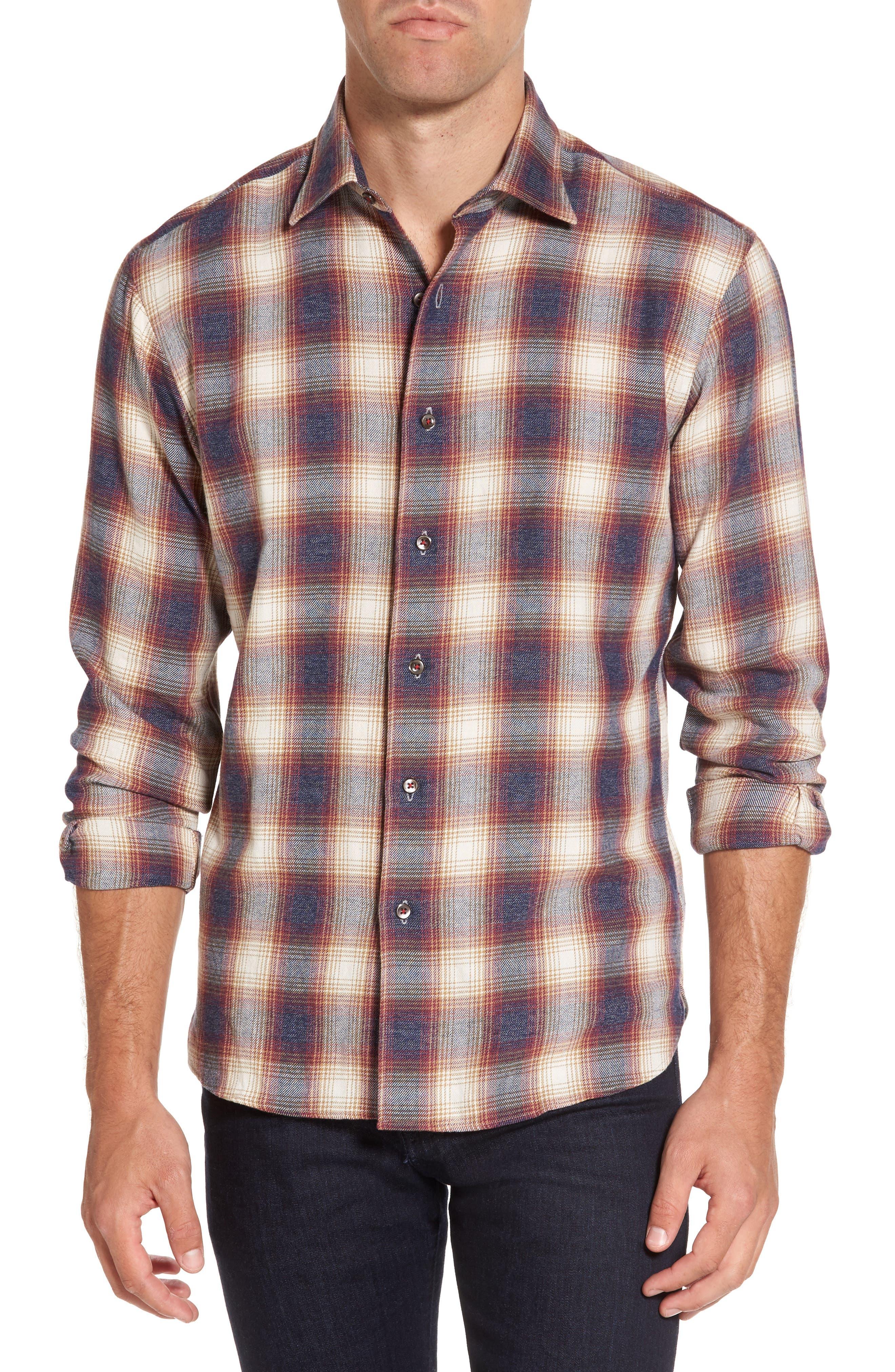 Slim Fit Plaid Sport Shirt,                         Main,                         color, Burgundy