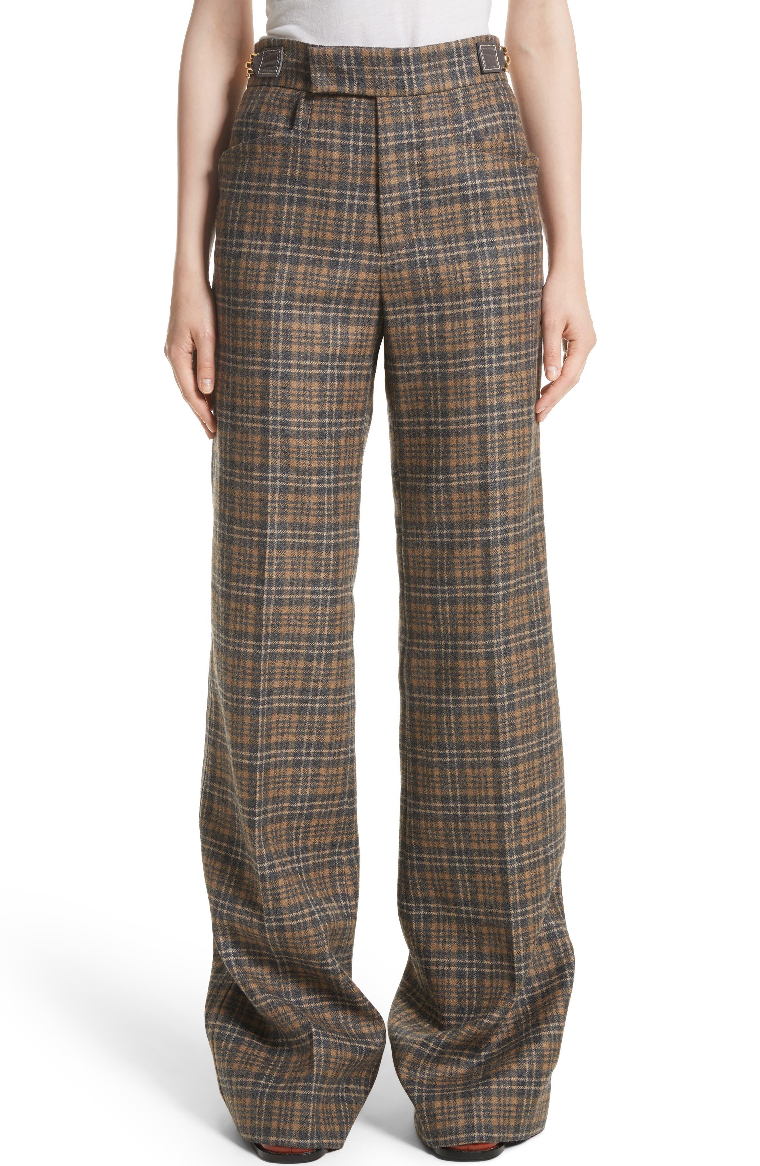 Plaid Wool Blend Wide Leg Pants,                         Main,                         color, Camel Multi