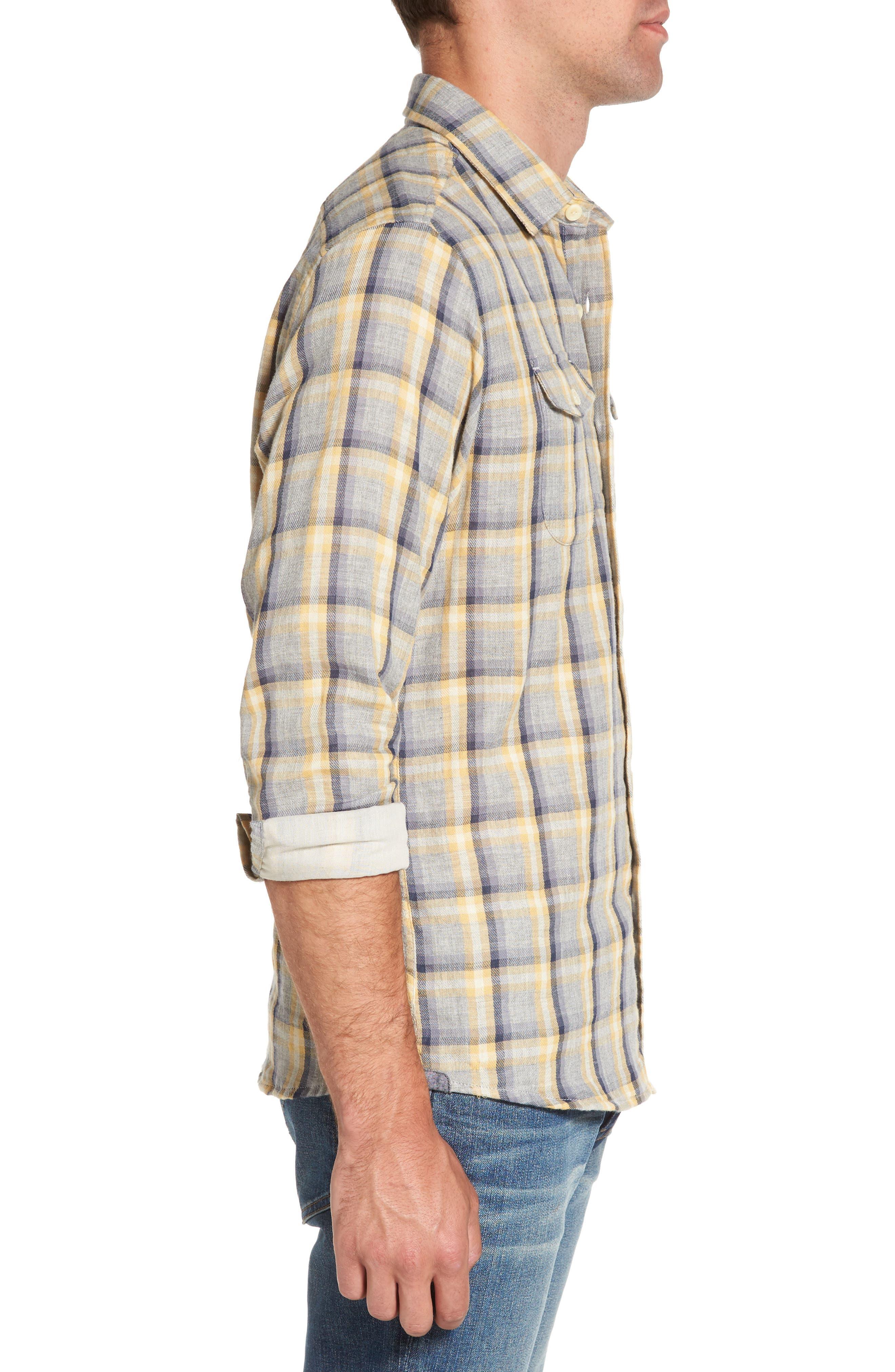 Sheldon Modern Fit Double Cloth Windowpane Sport Shirt,                             Alternate thumbnail 3, color,                             Yellow Stone Gray