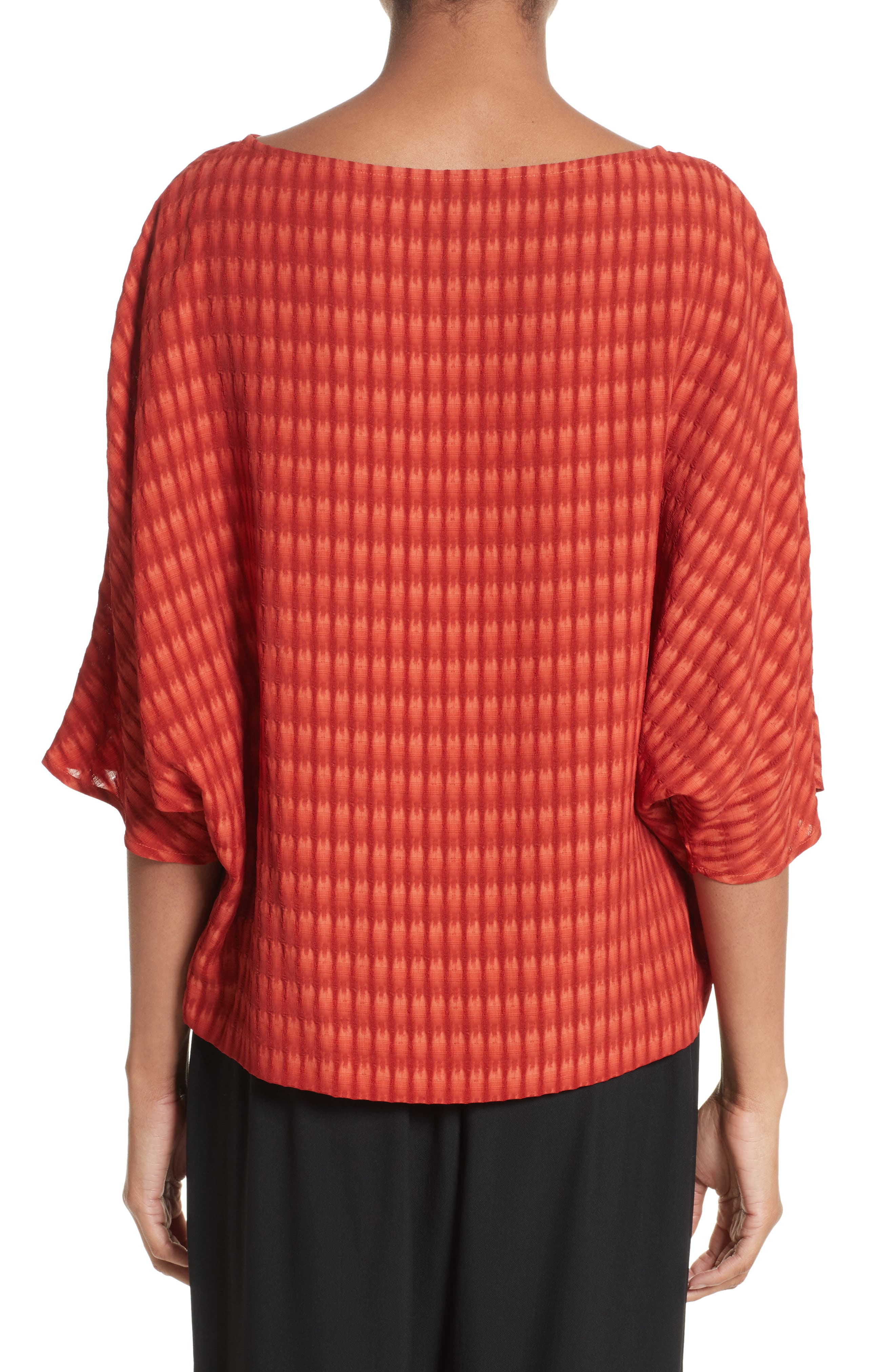 Vero Batik Plaid Top,                             Alternate thumbnail 2, color,                             Saffron Red