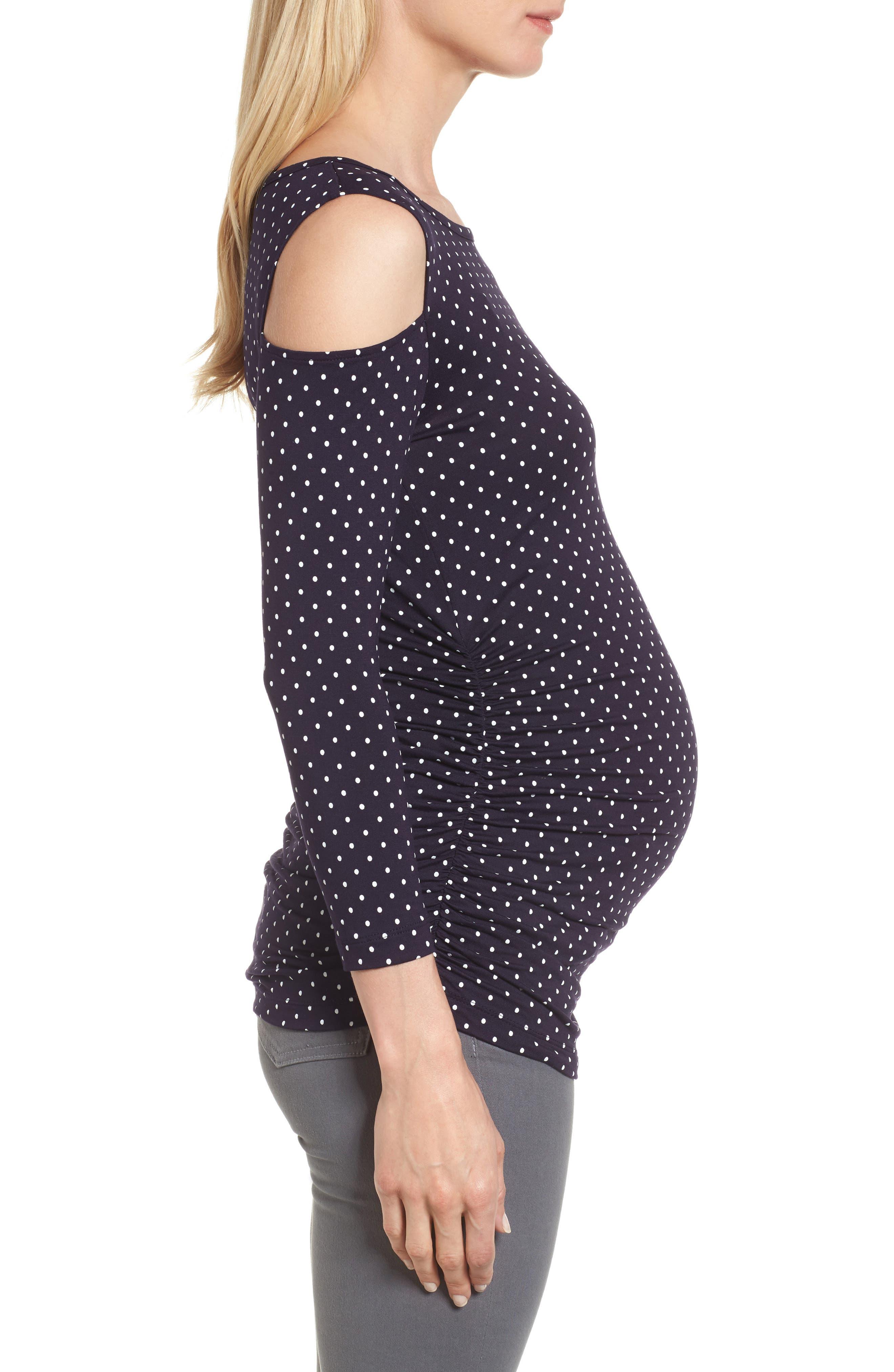 Alternate Image 3  - Isabella Oliver Jennifer Dot Cold Shoulder Maternity Top