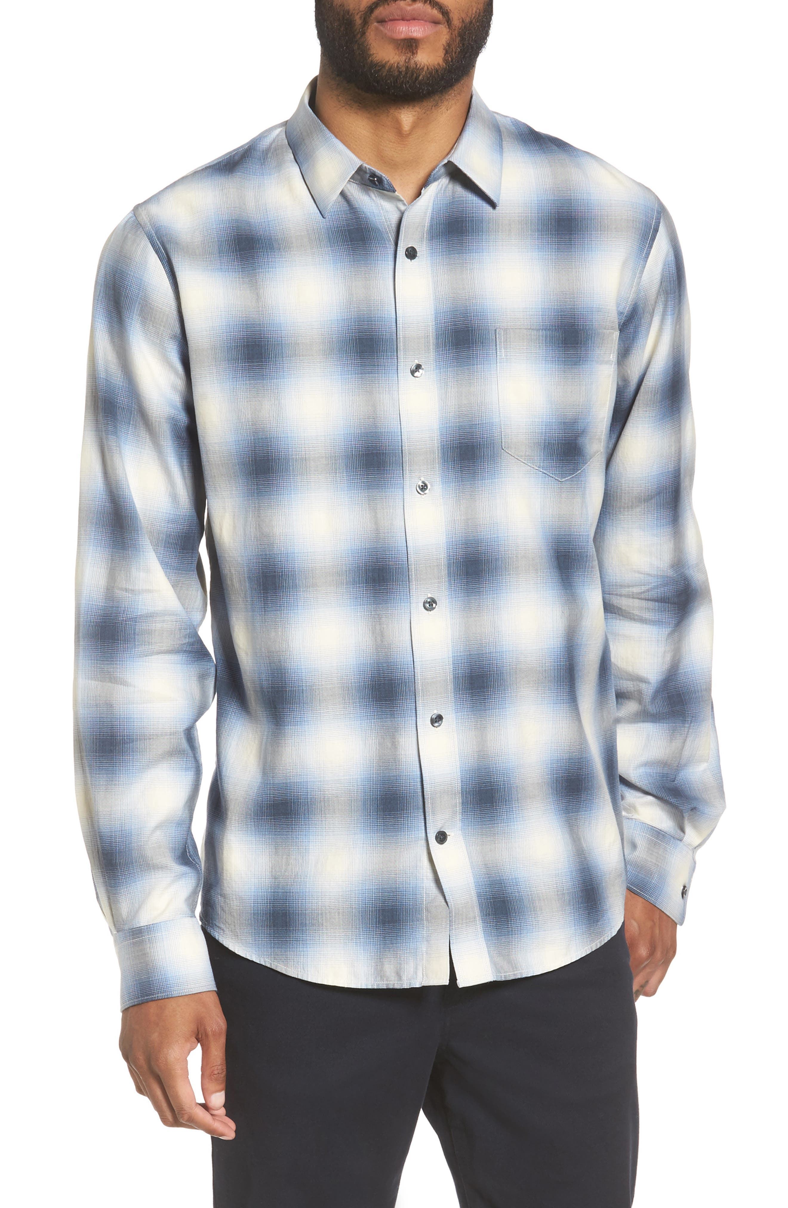 Regular Fit Check Sport Shirt,                             Main thumbnail 1, color,                             Light Blue